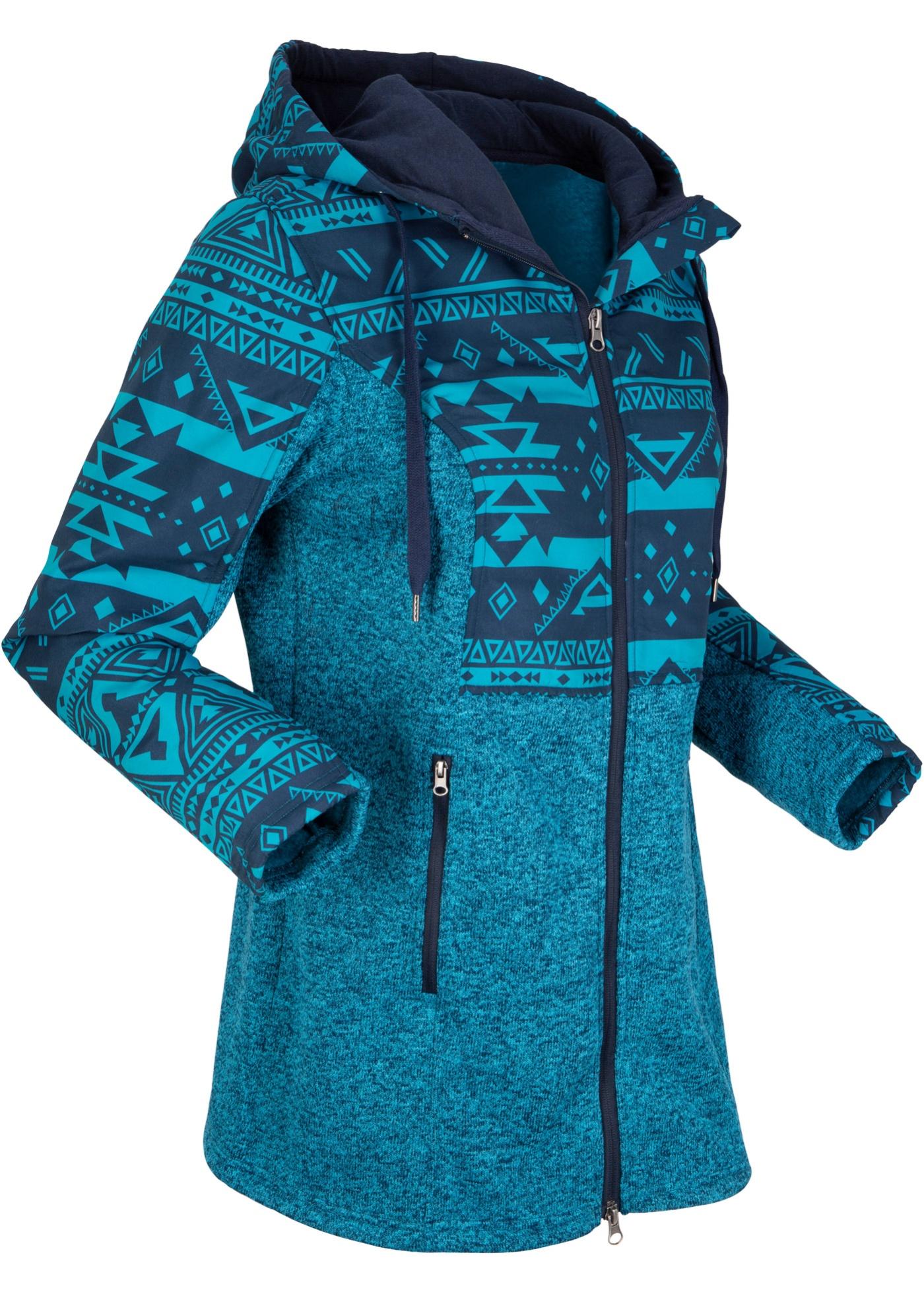 Fleecejacke mit Kapuze langarm  in blau für Damen von bonprix