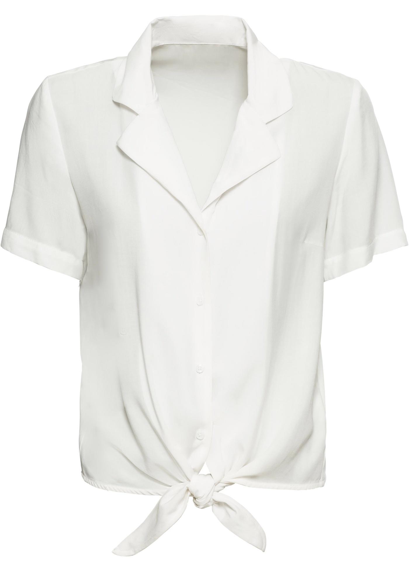 Kurzarmbluse mit Knotendetail in weiß für Damen von bonprix
