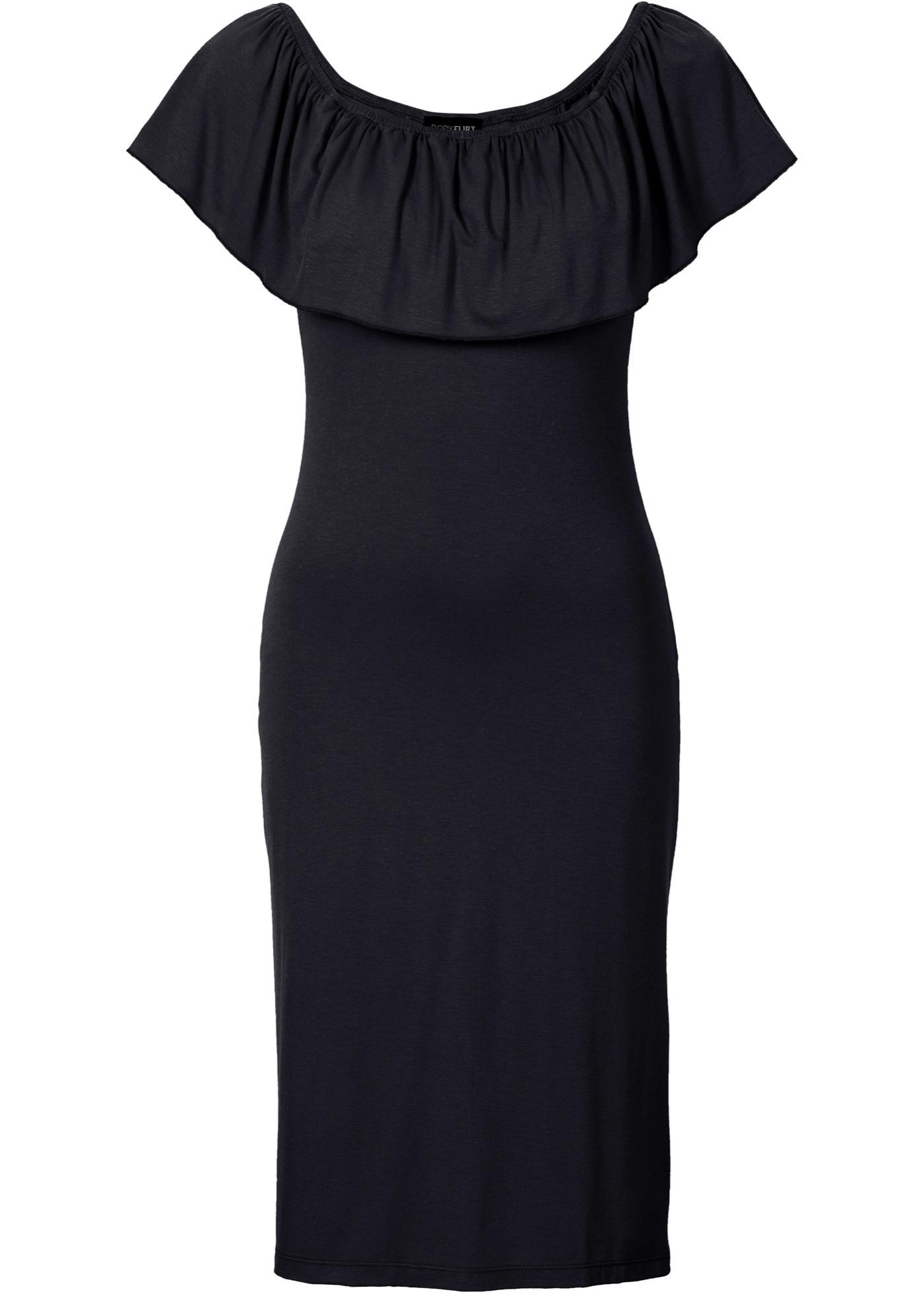 Festtagsmode - Sommer Carmen Kleid aus Jersey › bonprix › schwarz  - Onlineshop Bonprix