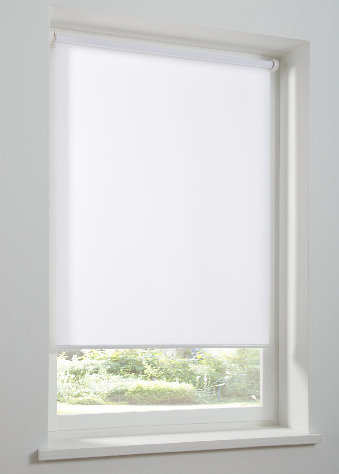Schnurloses Sichtschutzrollo einfarbig in weiß von bonprix