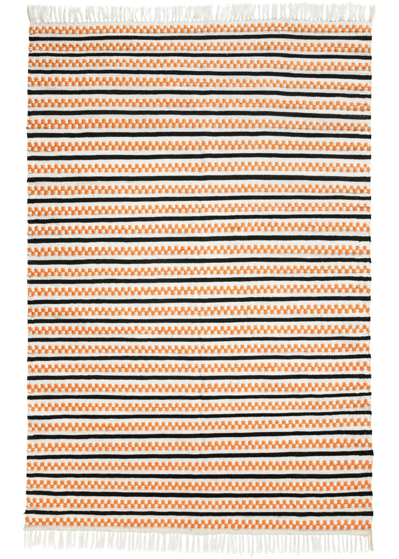 In- und Outdoor Kelim-Teppich mit Fransen in orange von bonprix