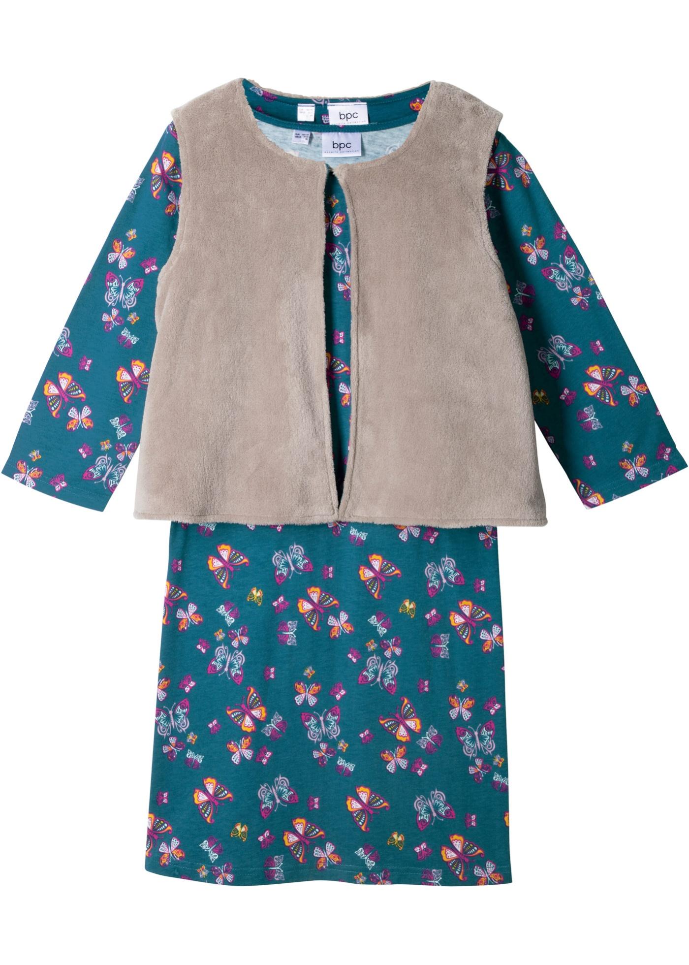 Mädchen,  Kinder bonprix Langarmkleid mit Teddyfellweste (2-tlg.)  | 08809658108586