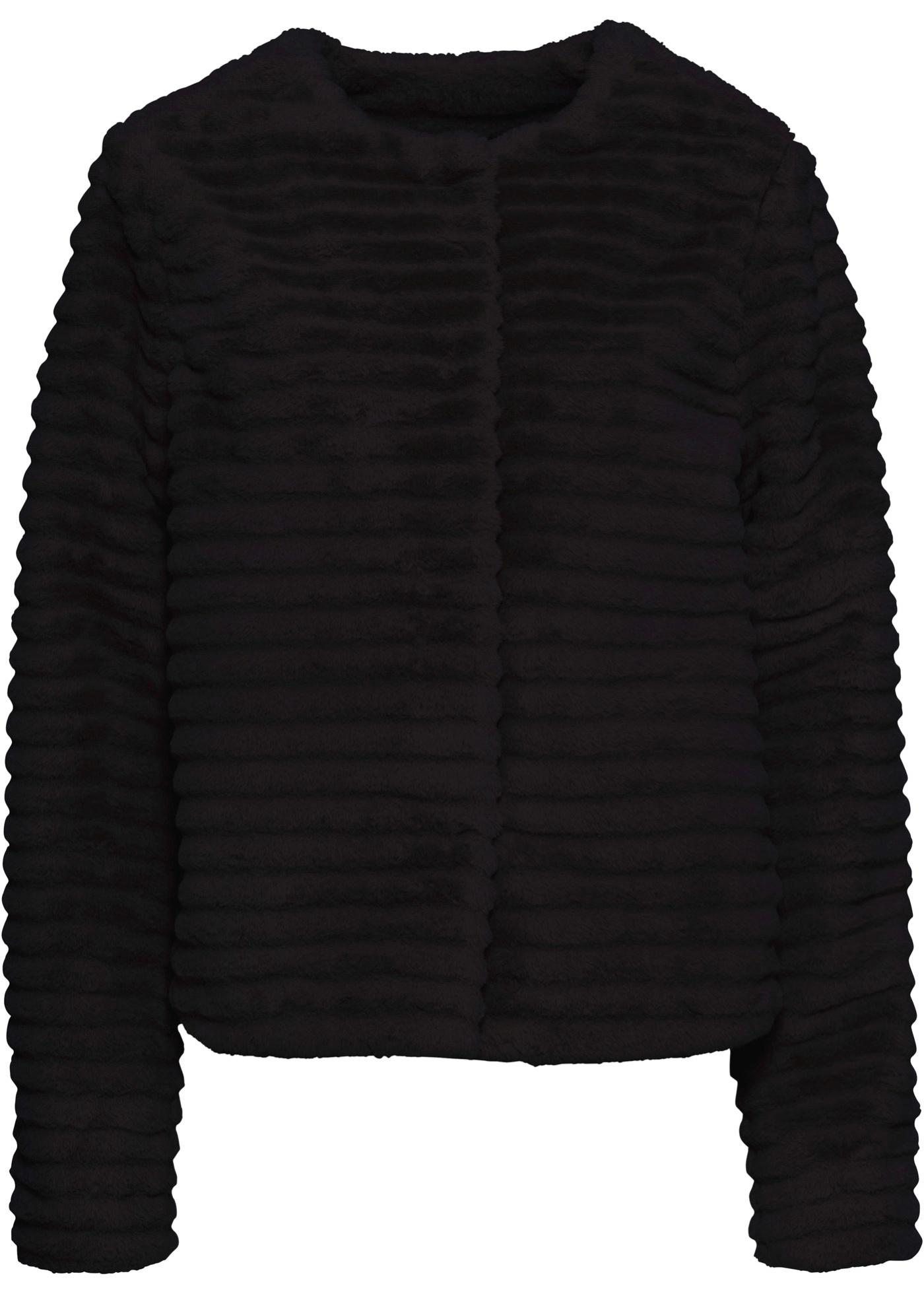 Fellimitat-Jacke langarm  in schwarz für Damen von bonprix