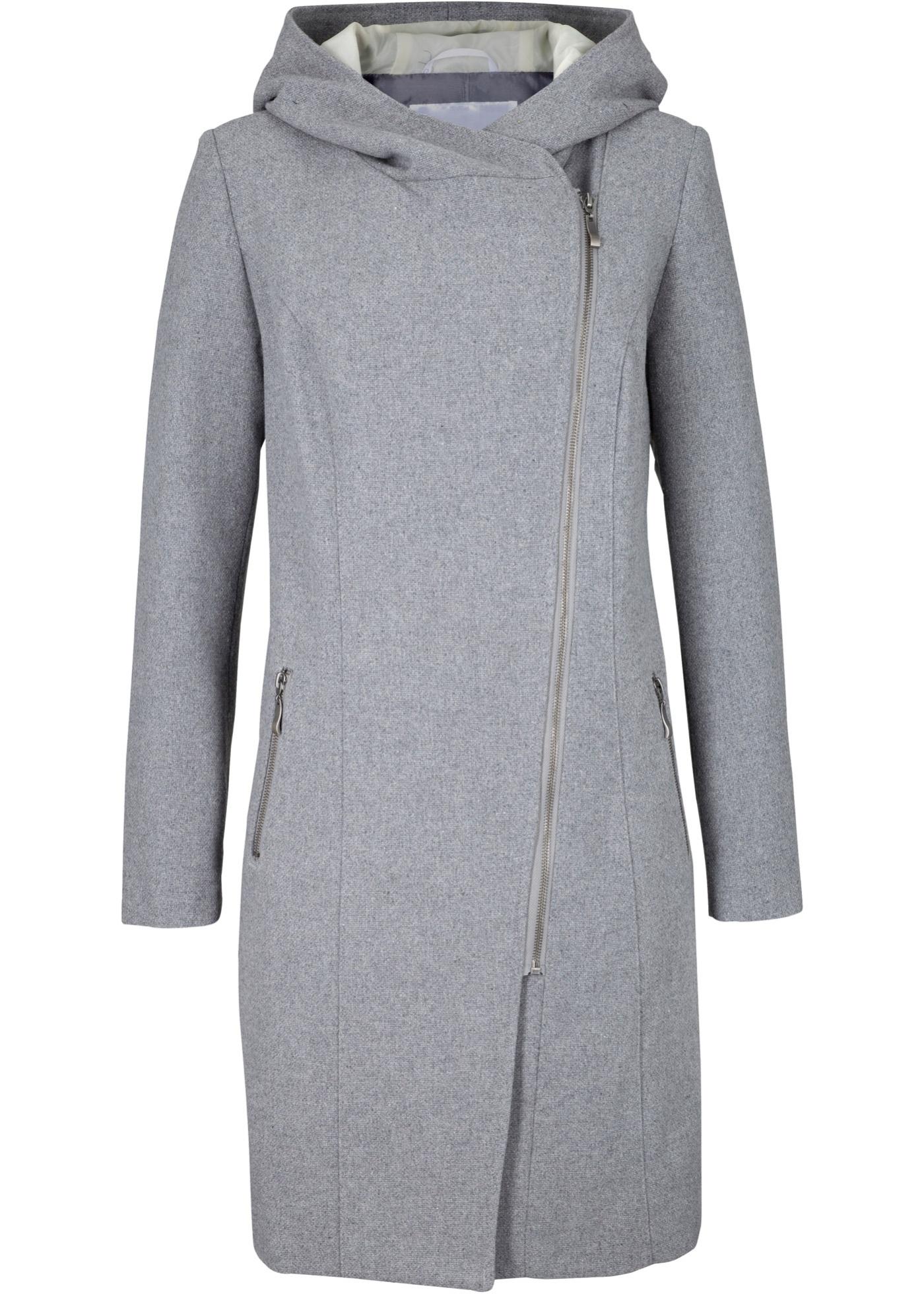 Longjacke mit schrägem Reißverschluss langarm  in grau für Damen von bonprix