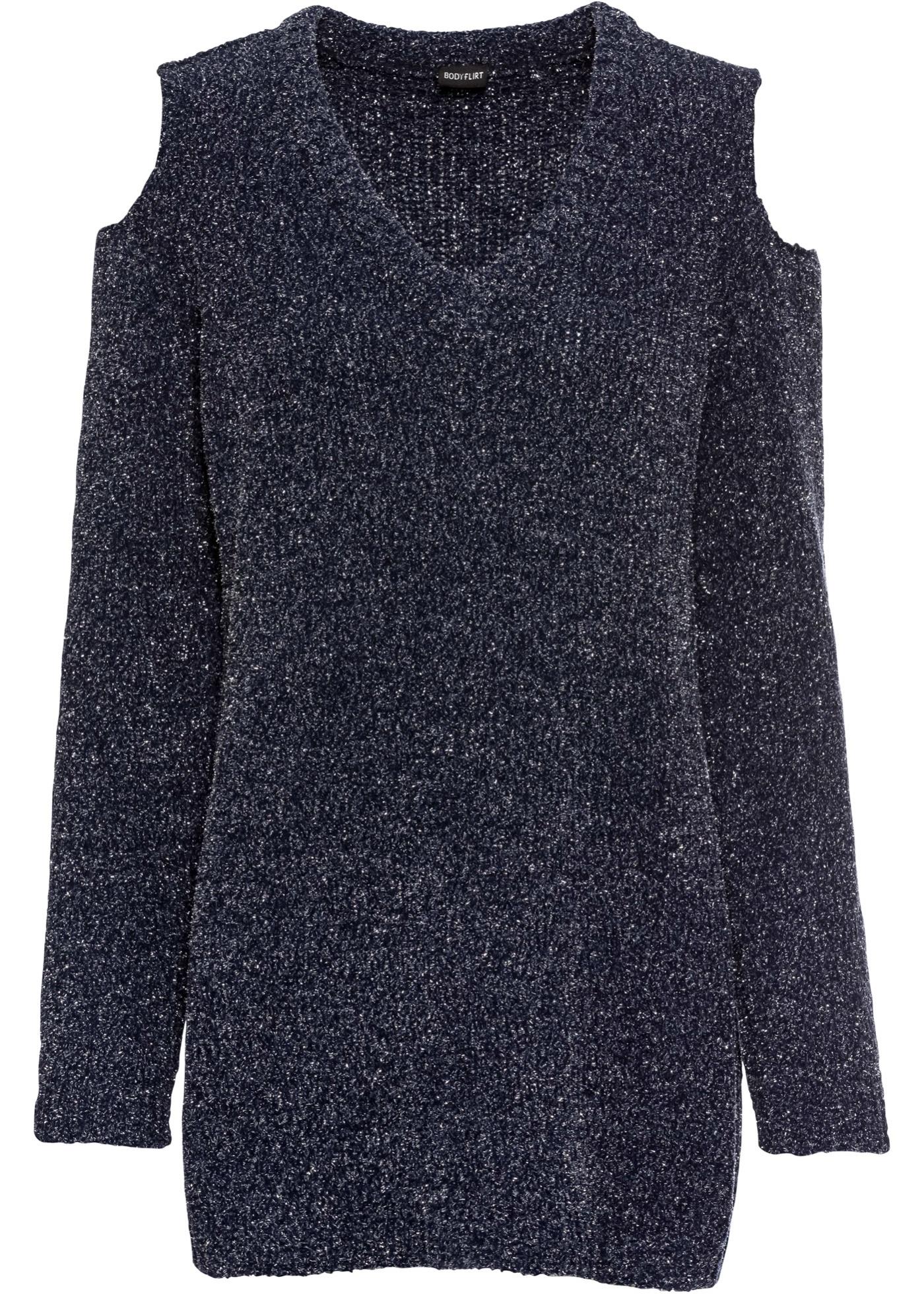 Chenille-Pullover mit Lurex langarm  in blau für Damen von bonprix