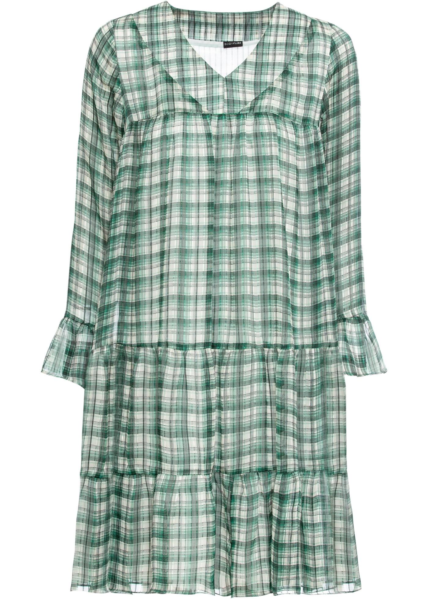 Kleid langarm  in grün (V-Ausschnitt) für Damen von bonprix