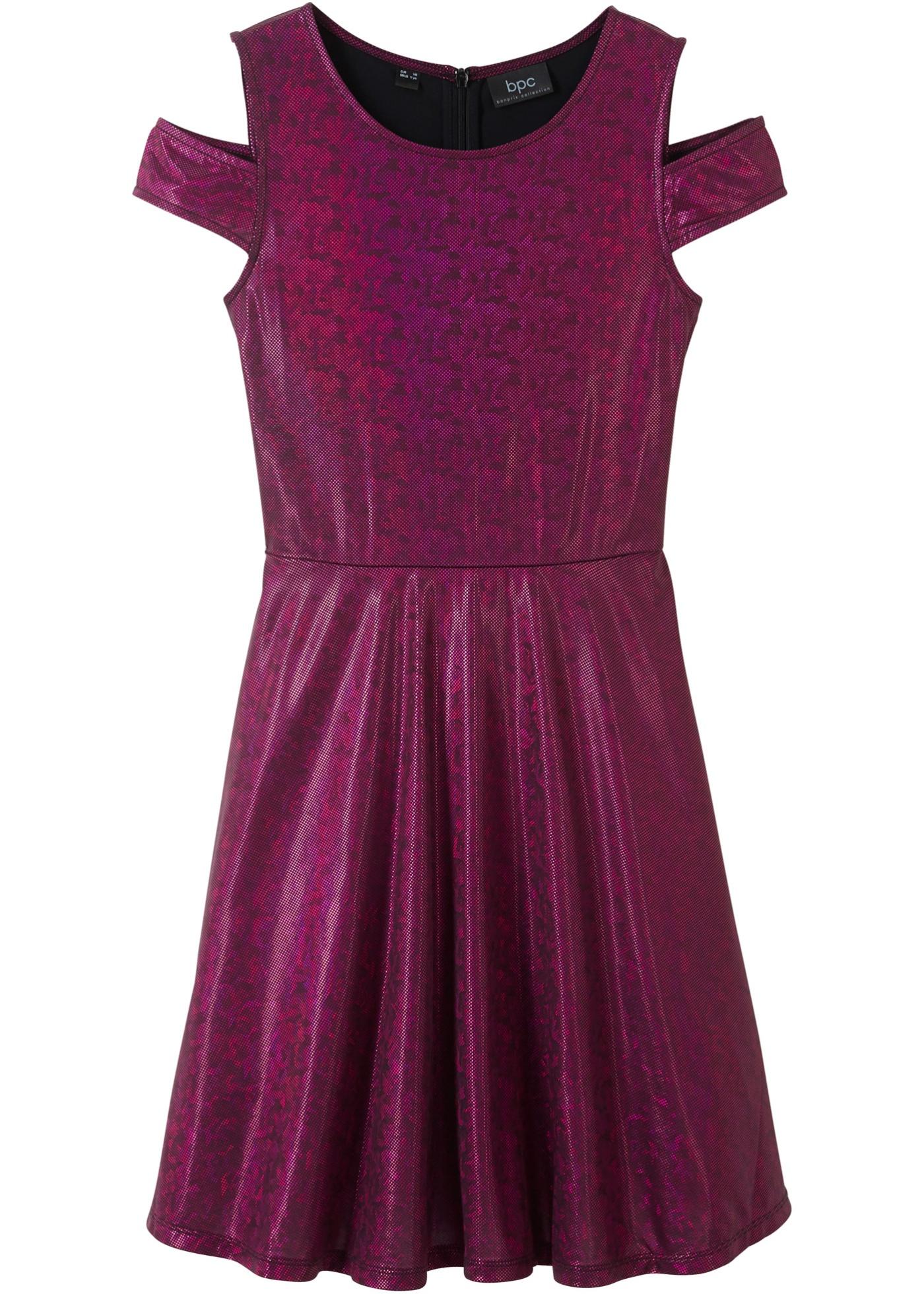 Mädchen,  Kinder bonprix Glitzer-Cold-Shoulder-Kleid pink | 06940487611150