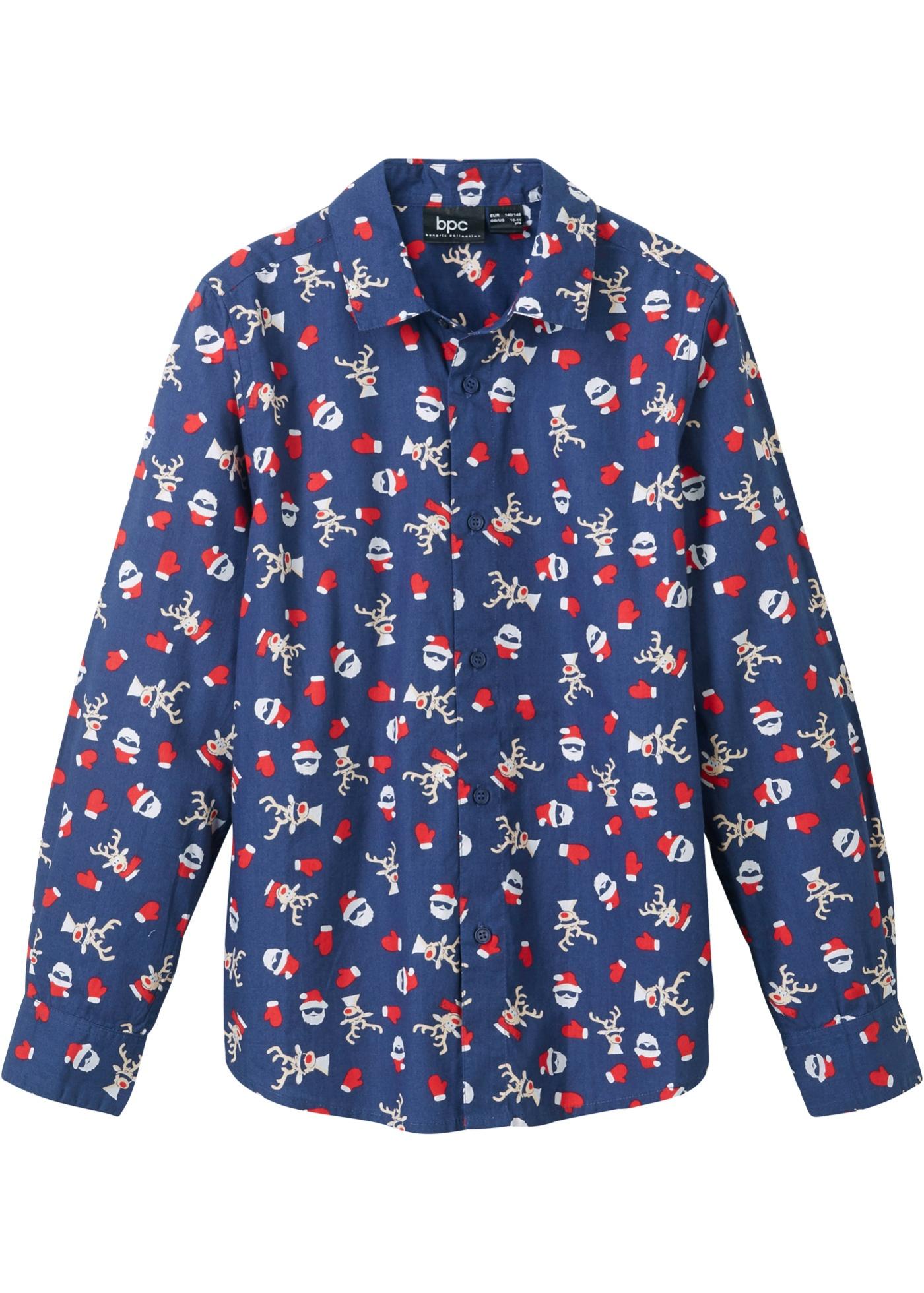 Jungen Langarmhemd mit Weihnachtsmotiv, Slim Fit in blau für Jungen von bonprix