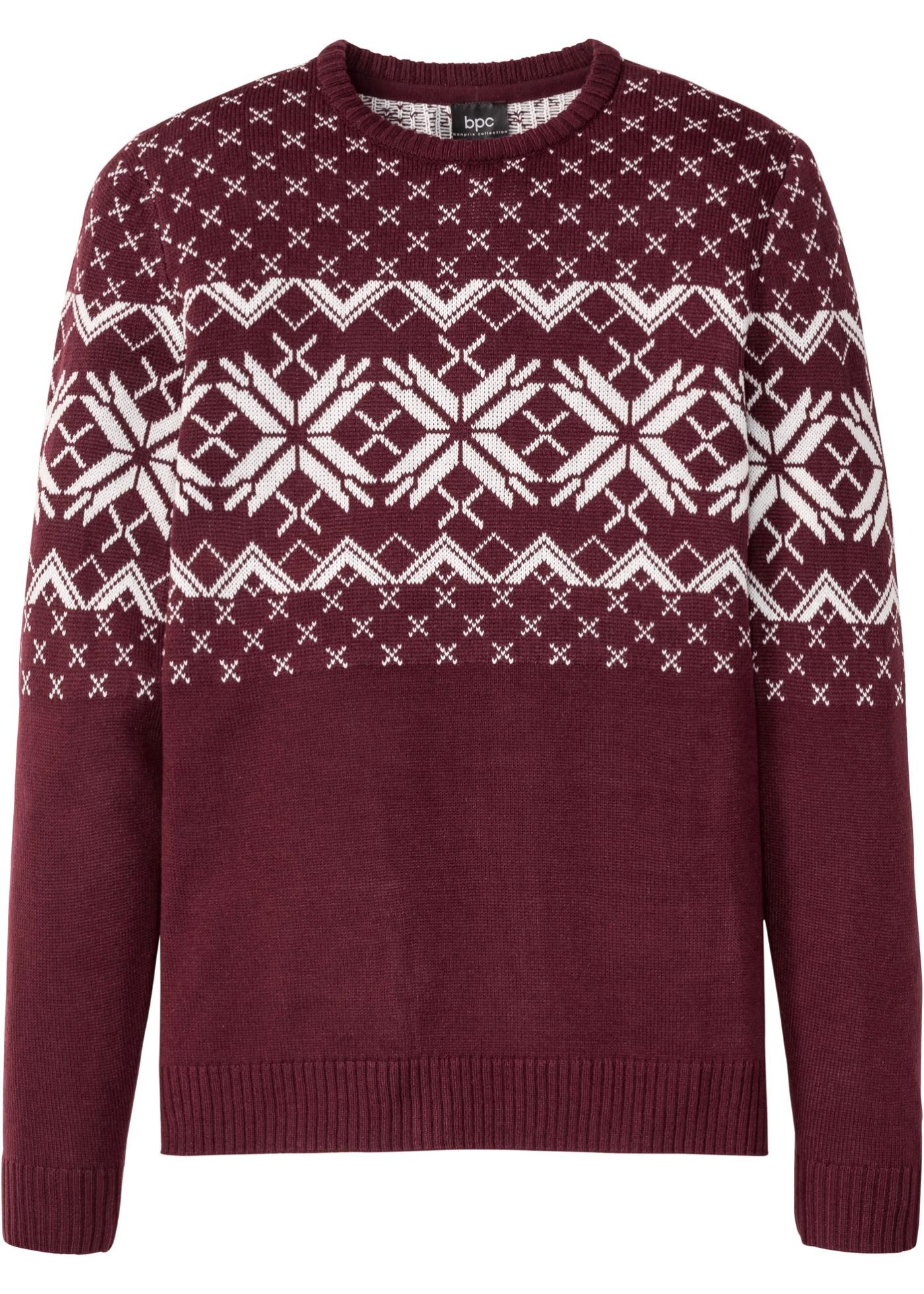 Norweger-Pullover langarm  in rot für Herren von bonprix