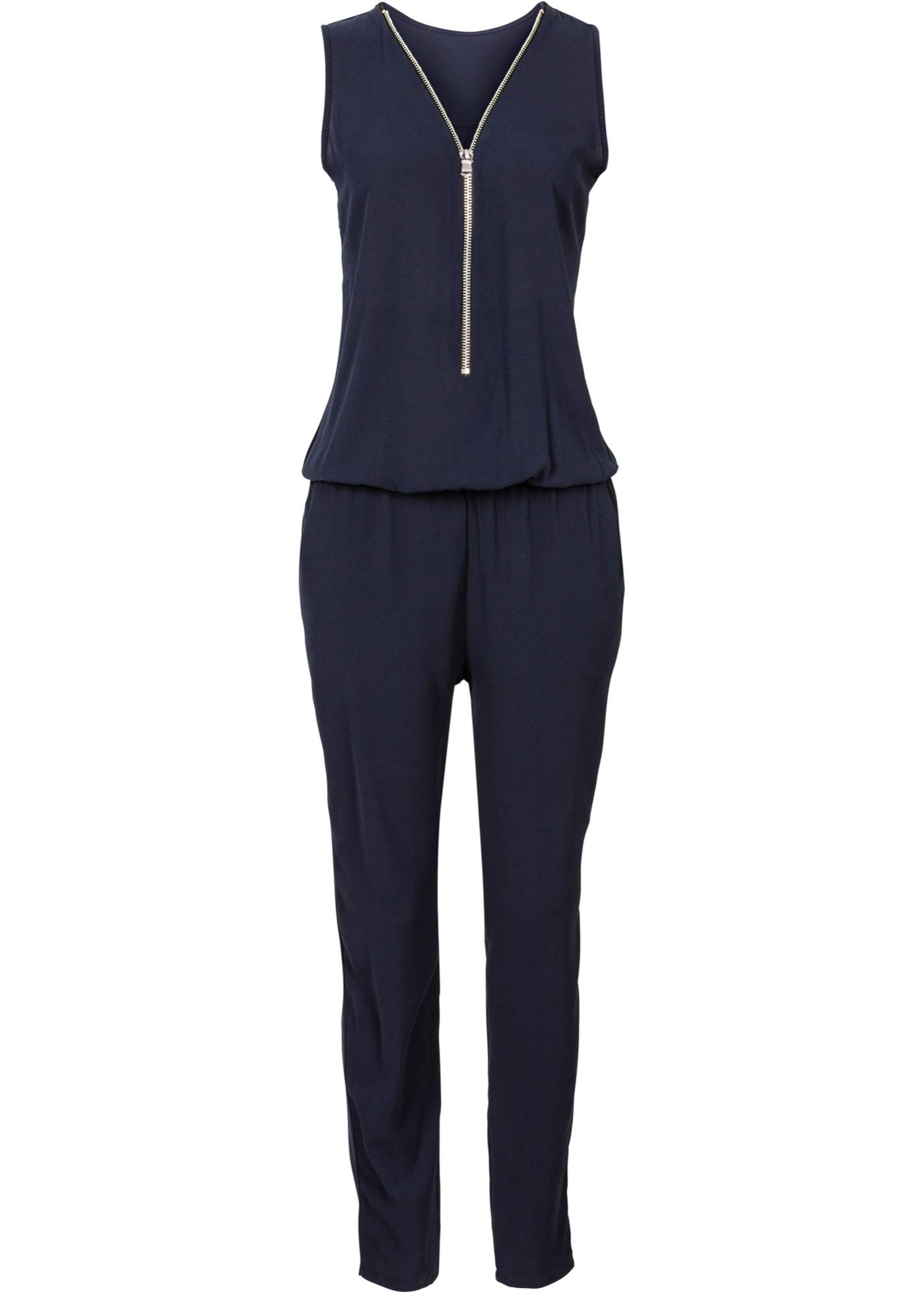 Jumpsuit mit Reißverschluss ohne Ärmel  in blau für Damen von bonprix