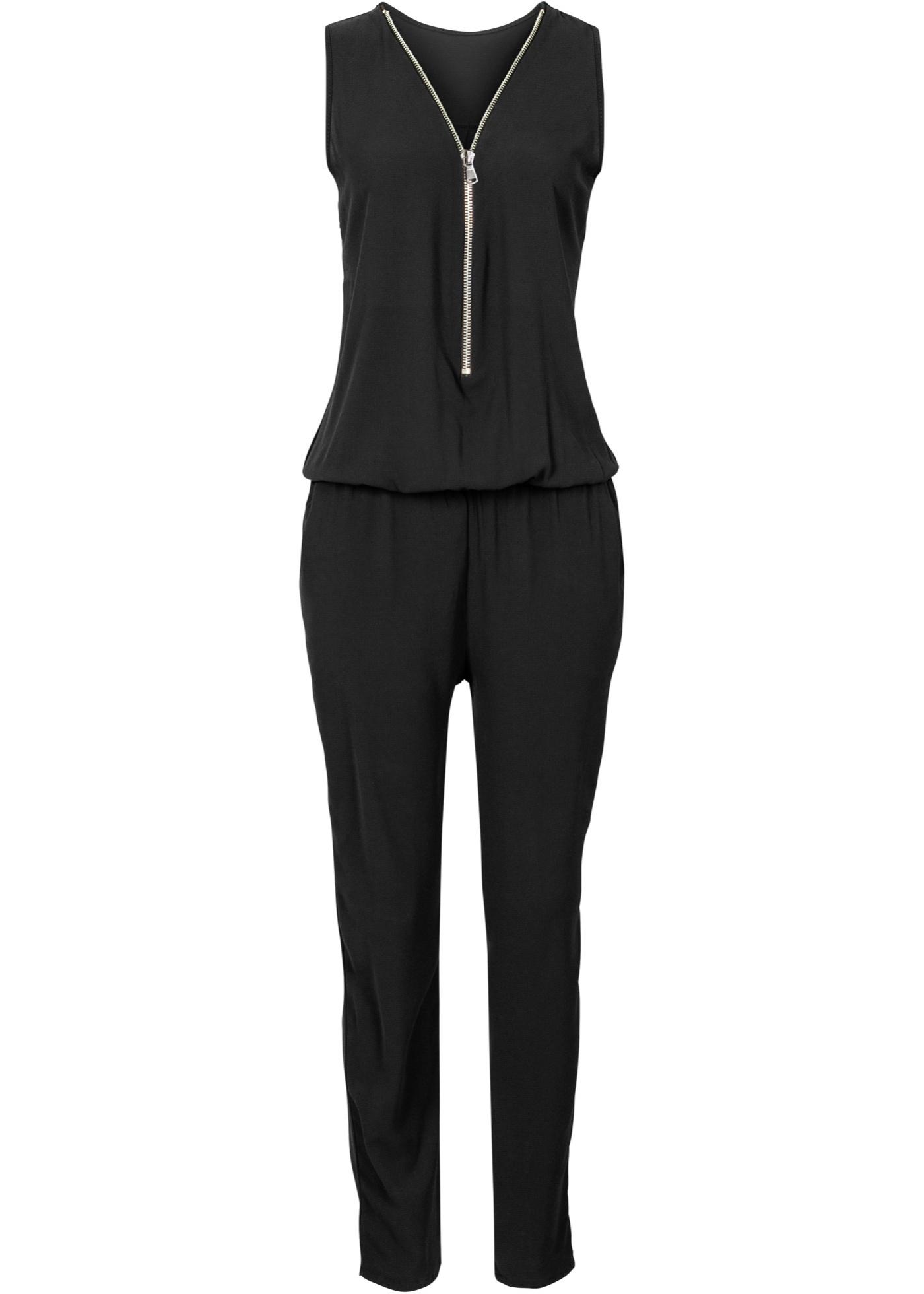 Jumpsuit mit Reißverschluss ohne Ärmel  in schwarz für Damen von bonprix