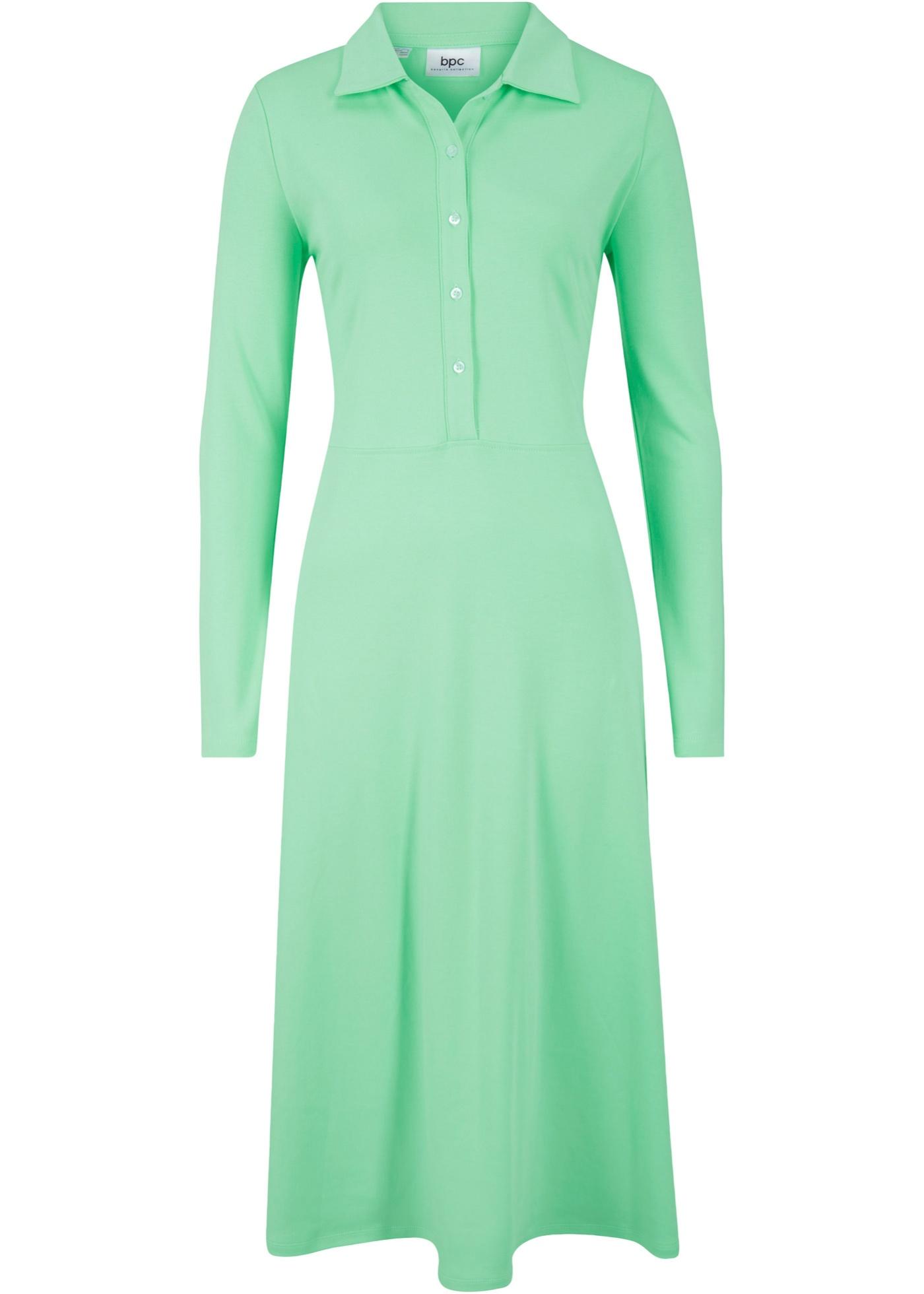 Kleid mit Knopfleiste langarm  in grün für Damen von bonprix