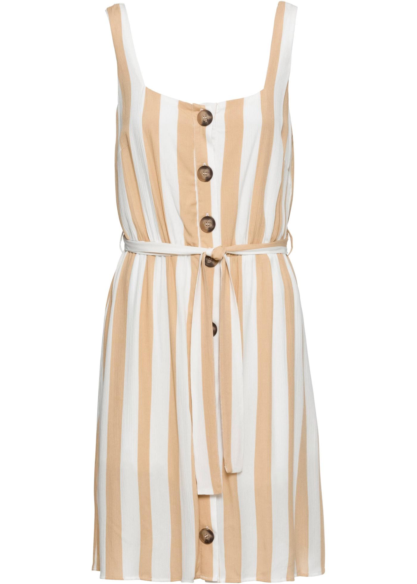 Kleid mit Bindegürtel ohne Ärmel  in weiß für Damen von bonprix