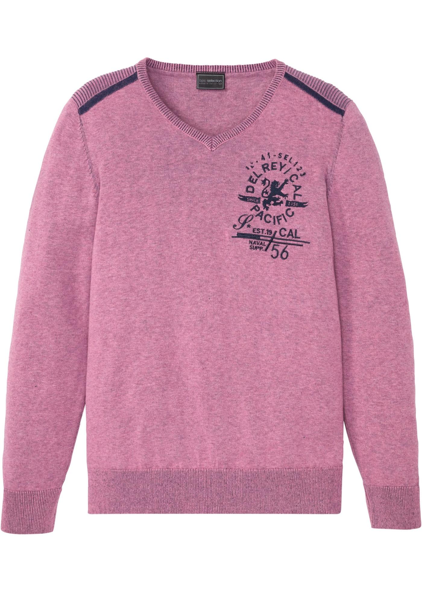 Pullover mit Stickerei langarm  in lila für Herren von bonprix