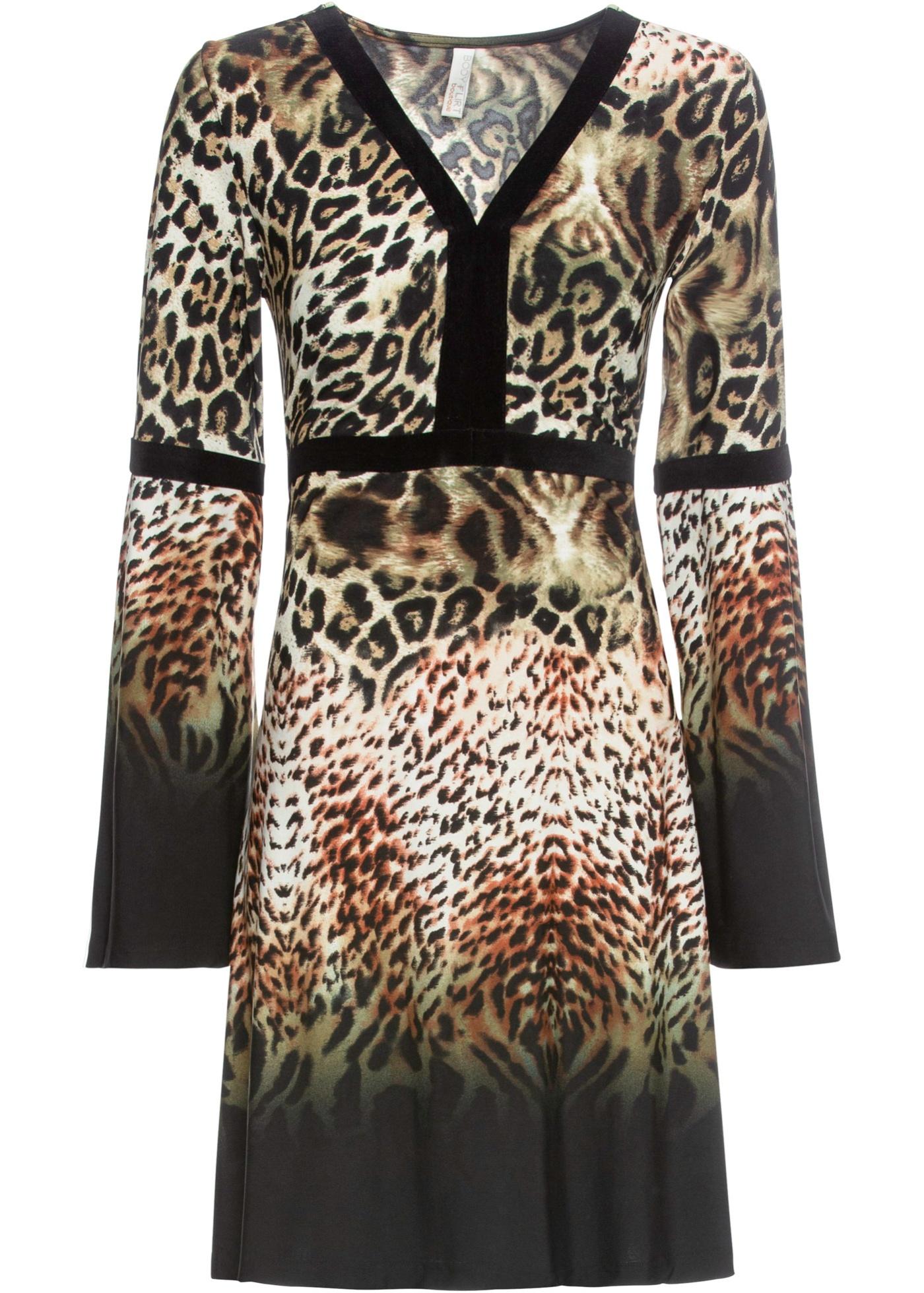 Leo-Kleid langarm  in braun (V-Ausschnitt) für Damen von bonprix
