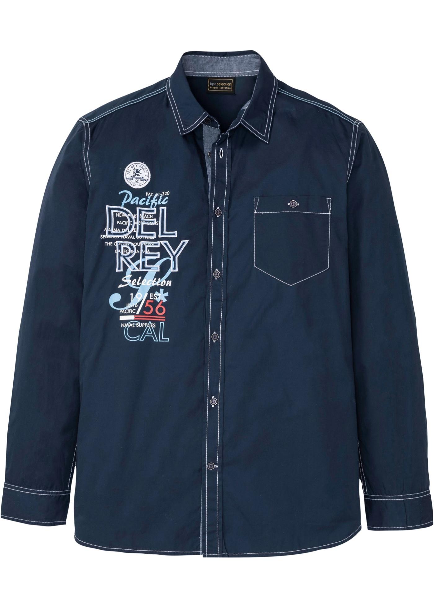 Hemd mit Druck langarm  in blau für Herren von bonprix