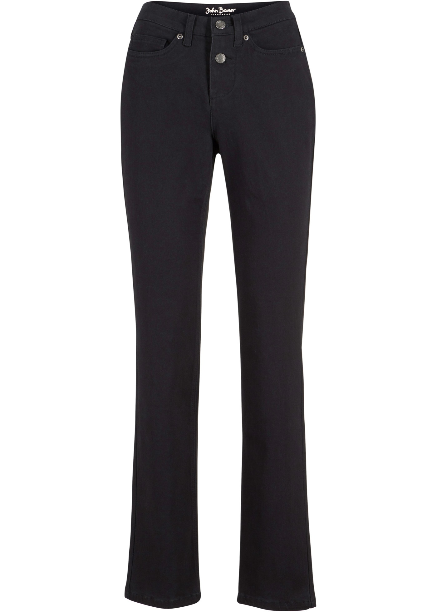 Stretch-Jeans in klassischem Denim, STRAIGHT in schwarz für Damen von bonprix