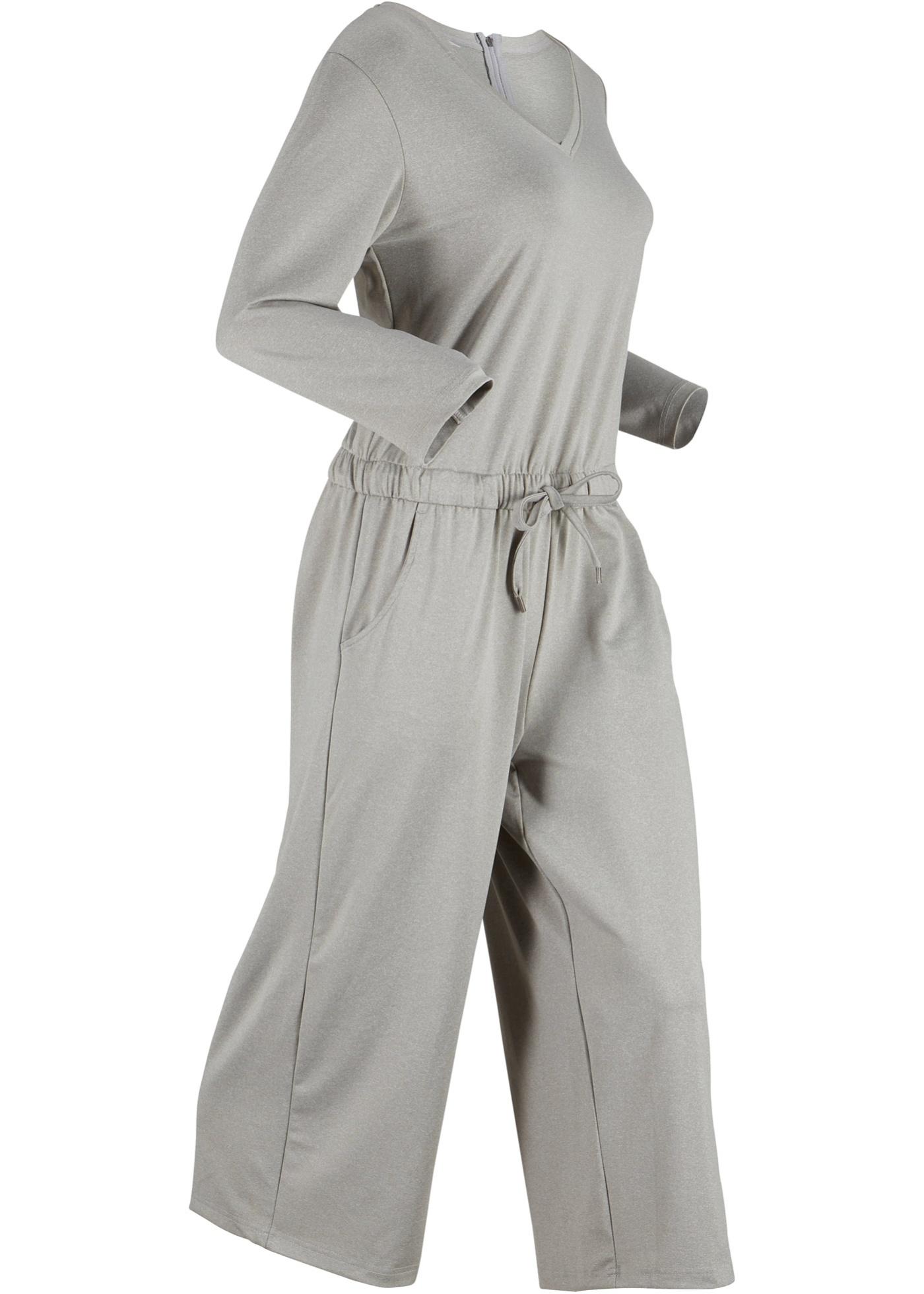 Jumpsuit mit weitem Bein, 3/4-Arm in grau für Damen von bonprix