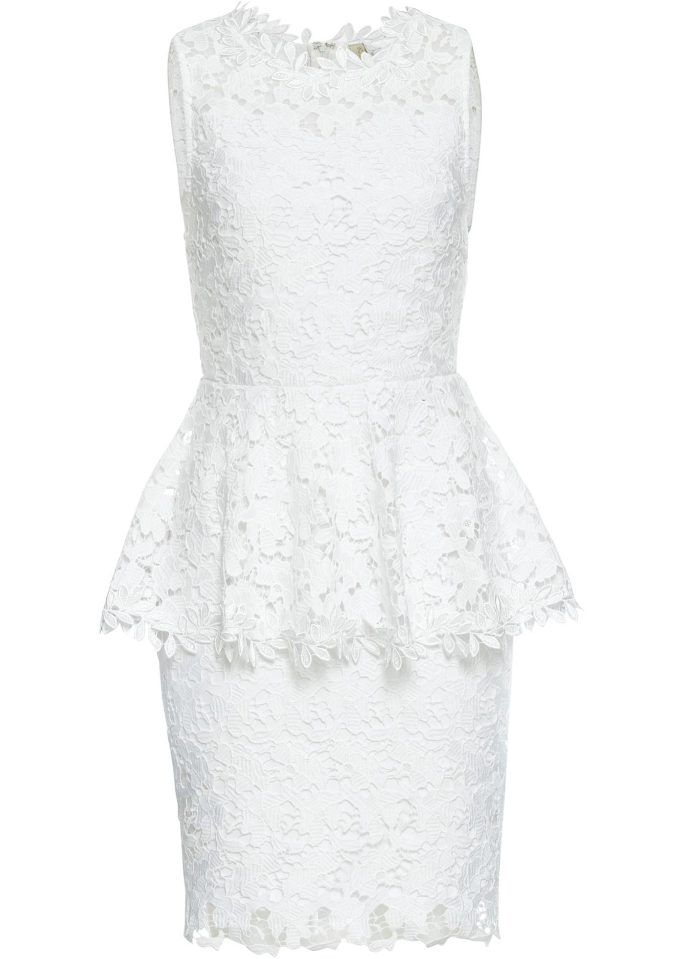 Spitzenkleid mit Volant ohne Ärmel  in weiß für Damen von bonprix