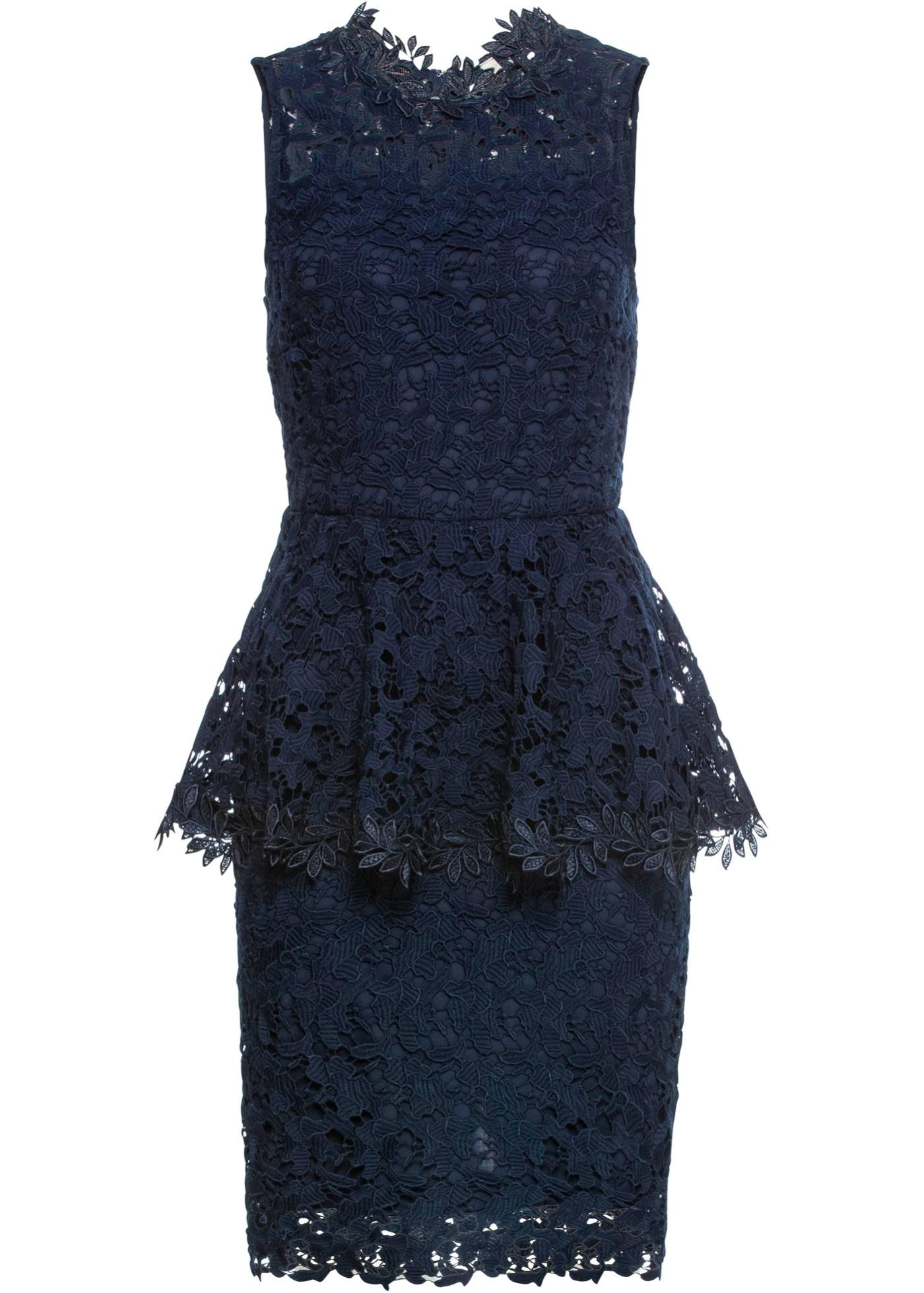 Spitzenkleid mit Volant ohne Ärmel  in blau für Damen von bonprix