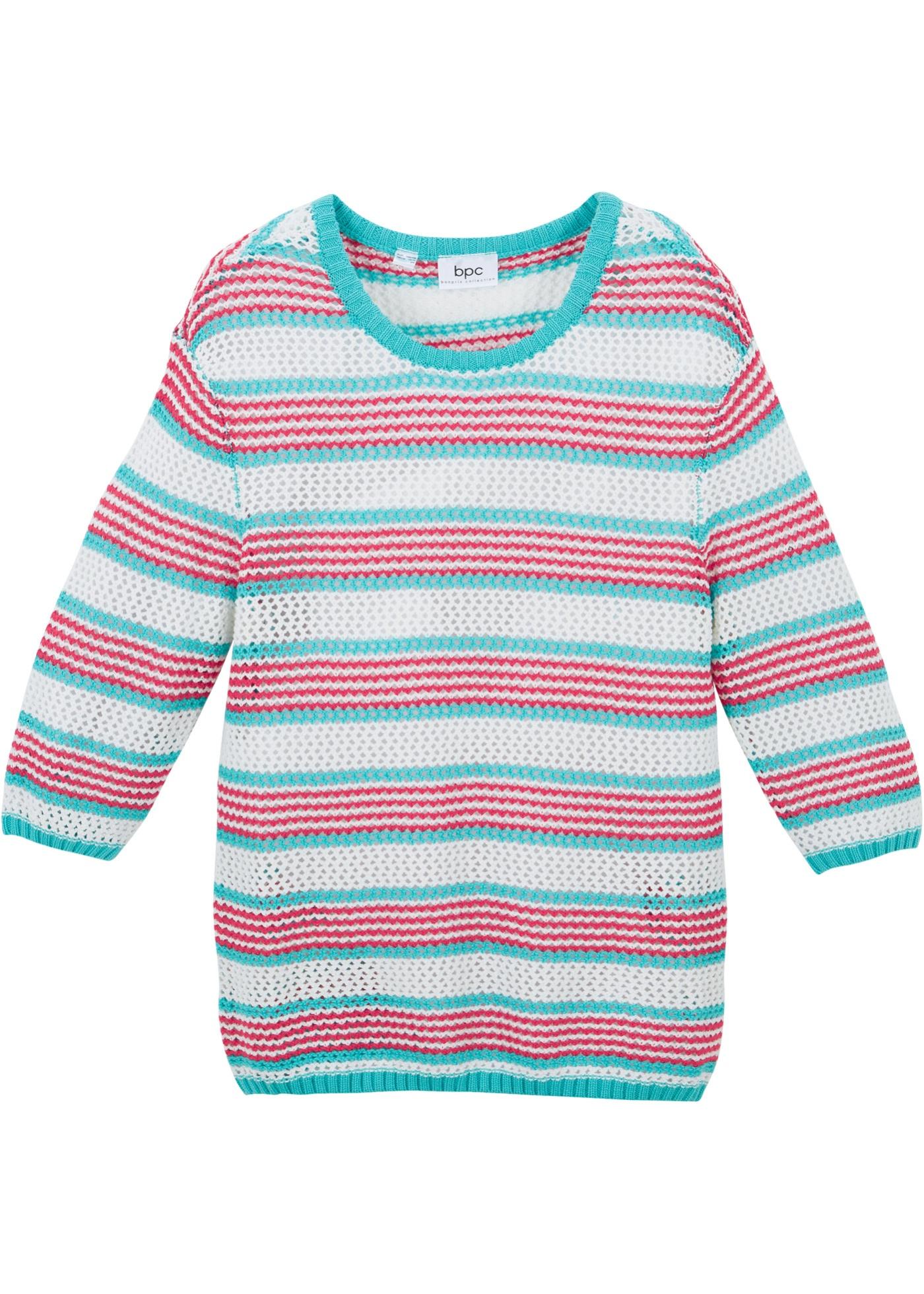 Mädchen Pullover mit Streifen 3/4 Arm  in blau für Mädchen von bonprix