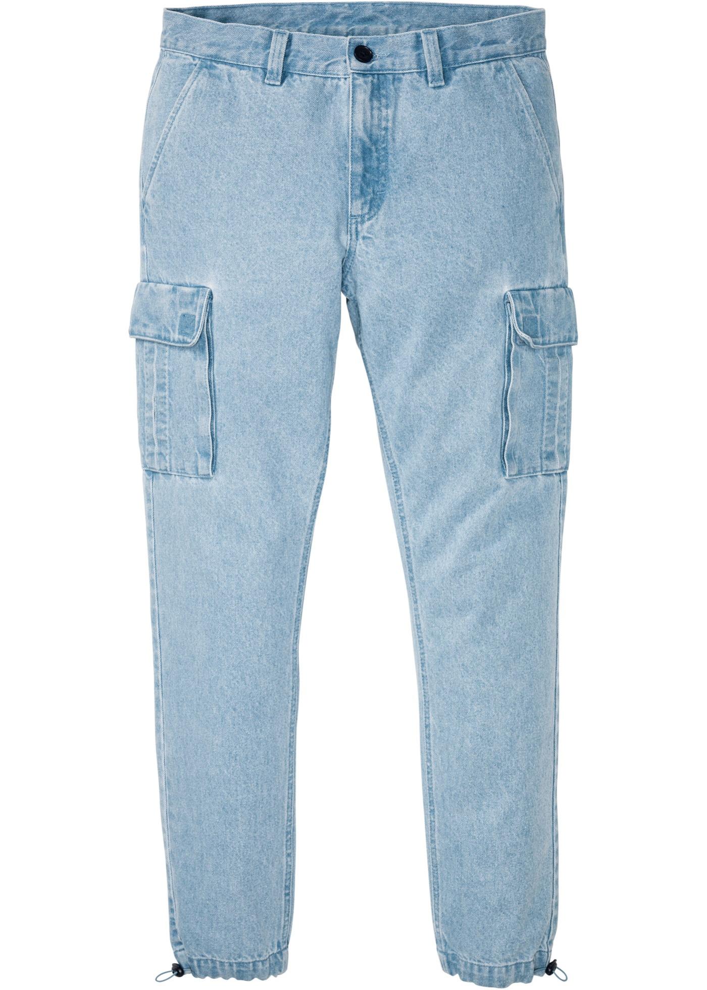 Regular Fit Cargo-Jeans, Straight in blau für Herren von bonprix