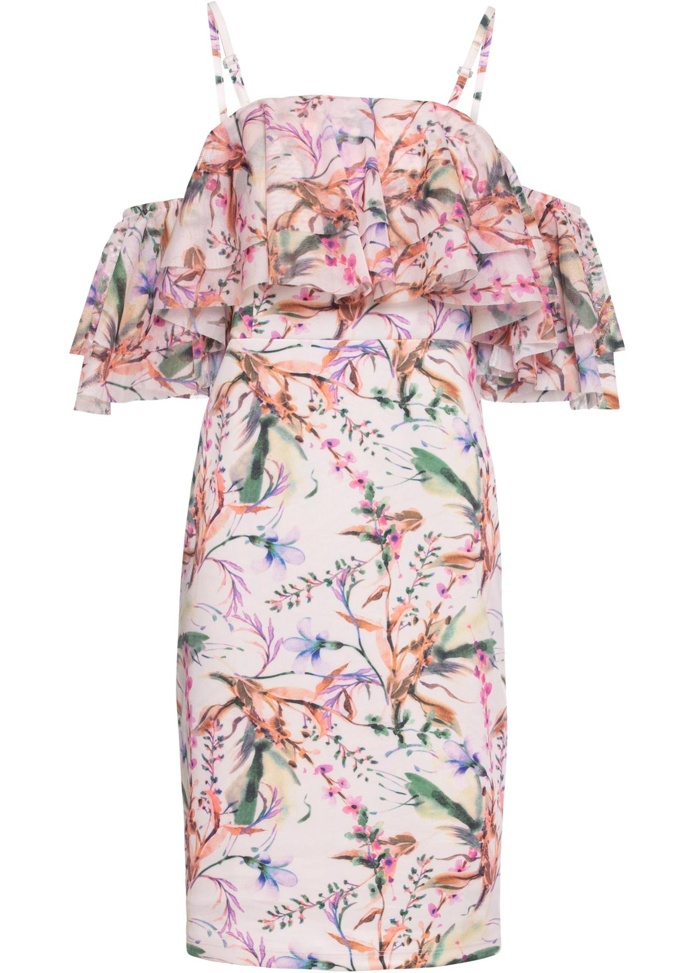 Kleid mit Carmen Ausschnitt in rosa für Damen von bonprix