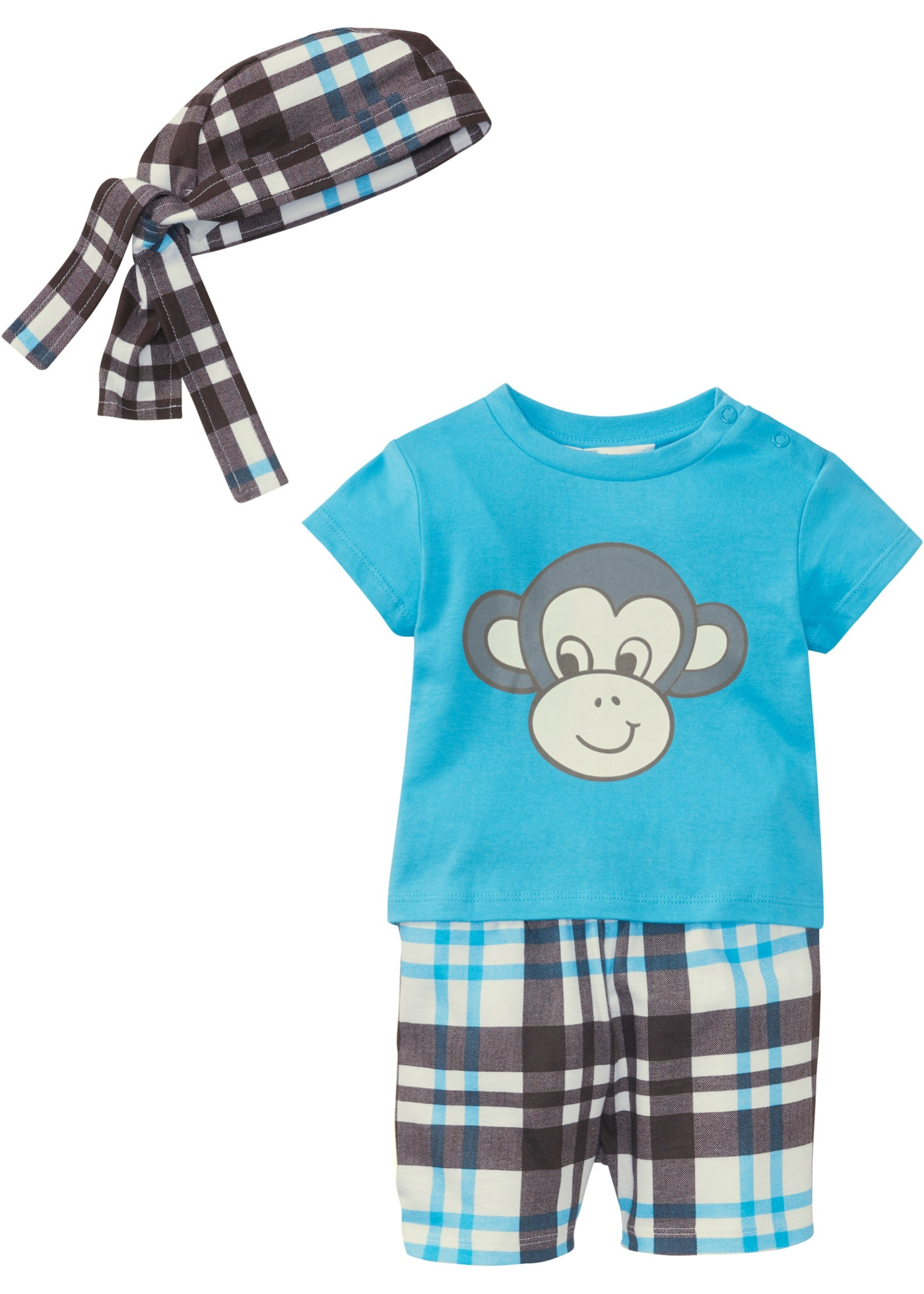 Baby T-Shirt + Bermuda + Bandana (3-tlg.) Bio-Baumwolle