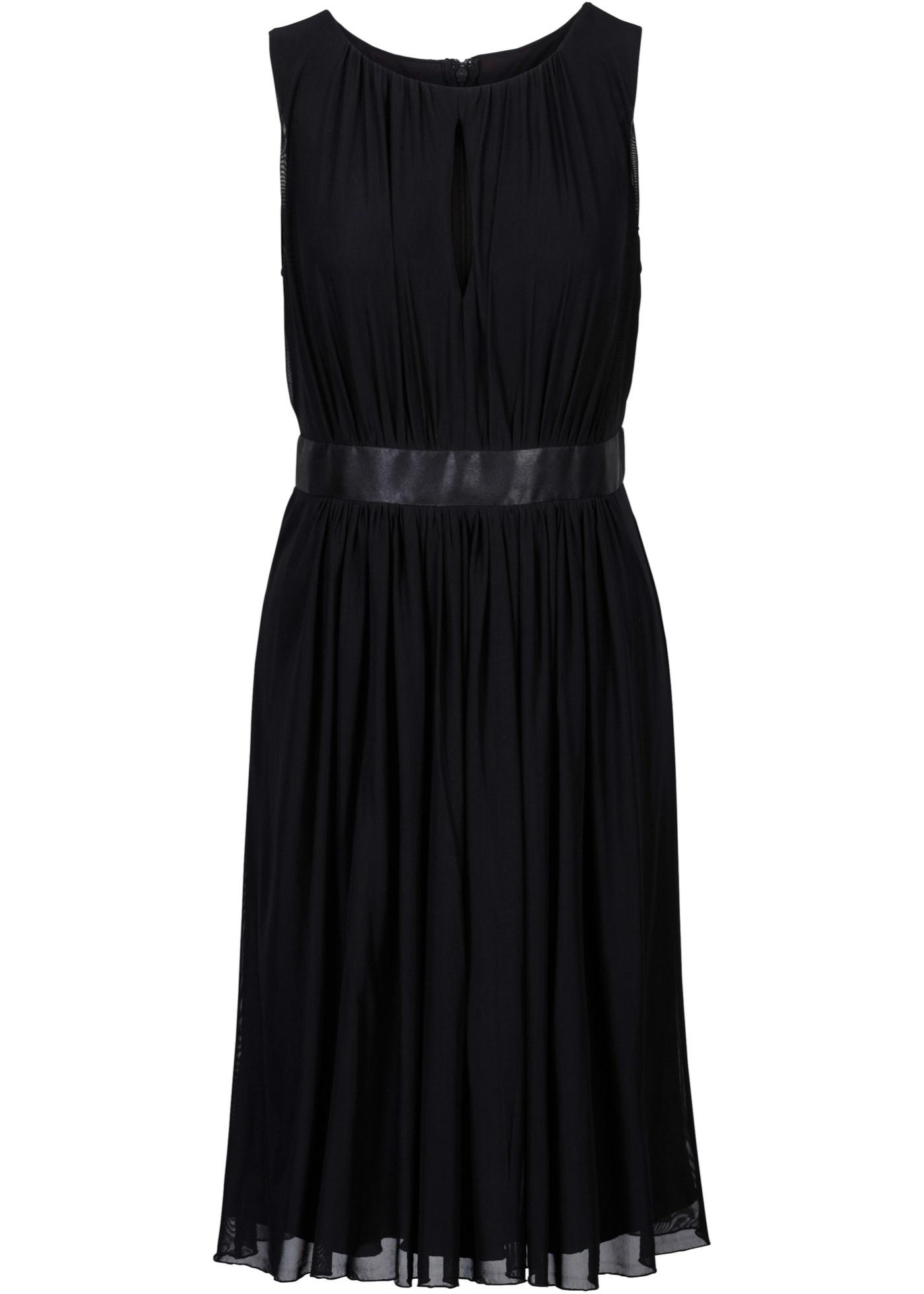 festliches kleid mit taillenband aus satin. - schwarz