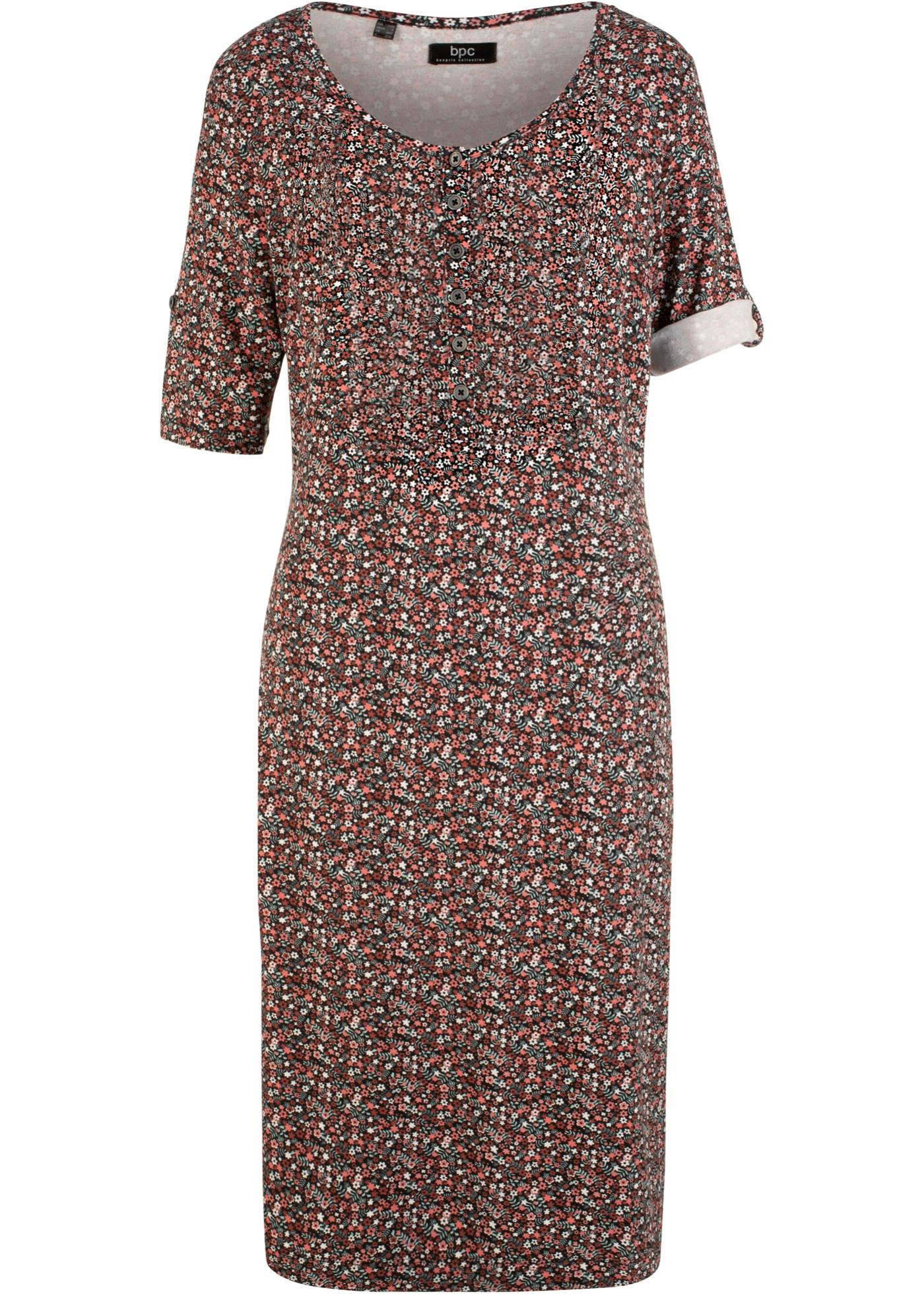 Lässiges Kleid mit Knopfleiste, Halbarm in schwarz für Damen von bonprix