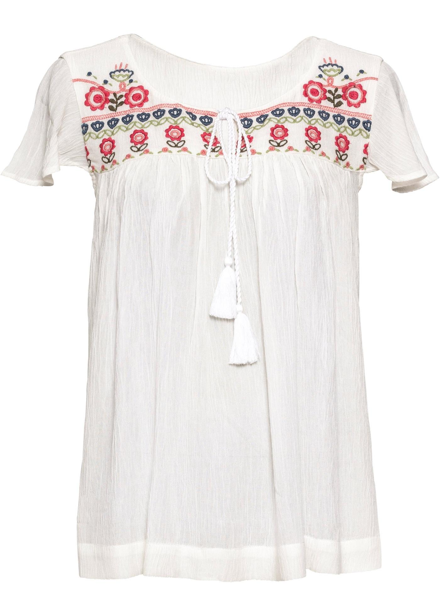 Blusenshirt mit Stickerei Flügelärmel  in weiß für Damen von bonprix