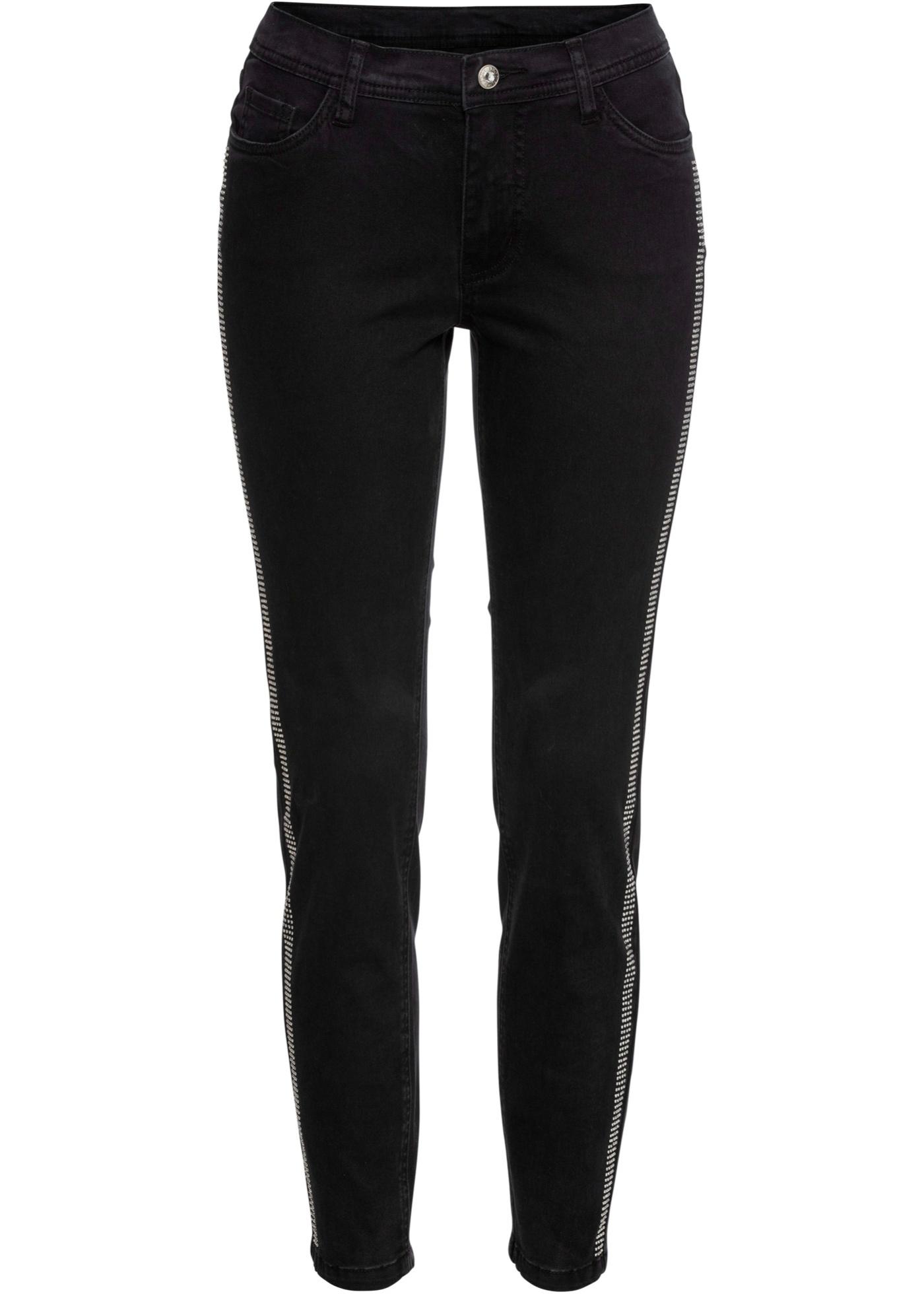 Skinny-Jeans mit Nieten in schwarz für Damen von bonprix