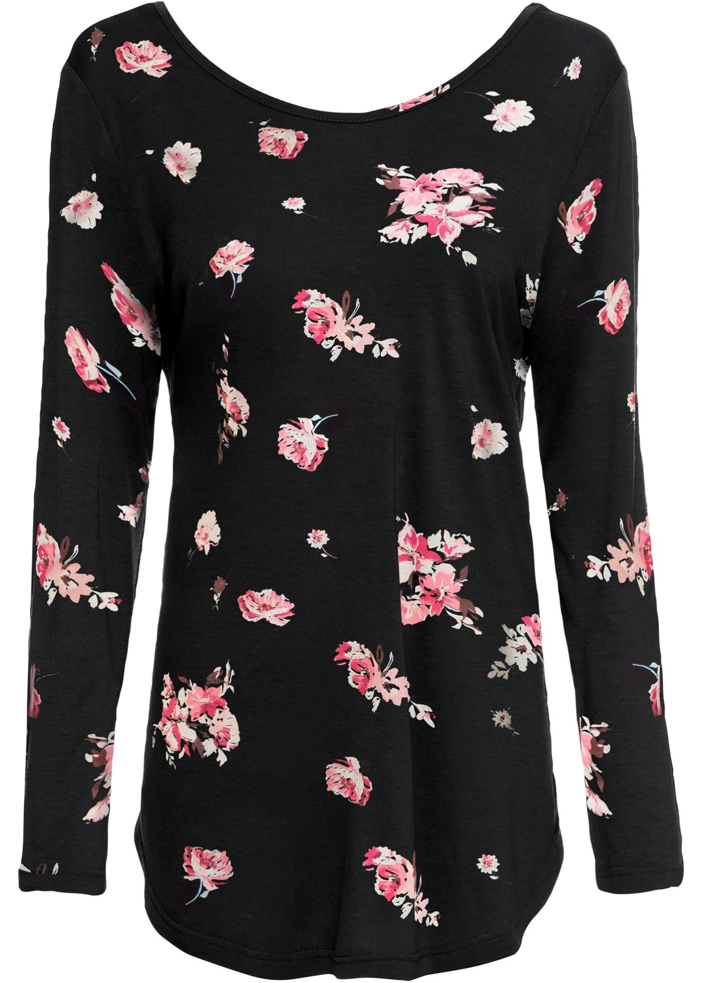 Shirt langarm  in schwarz (Rundhals) für Damen von bonprix