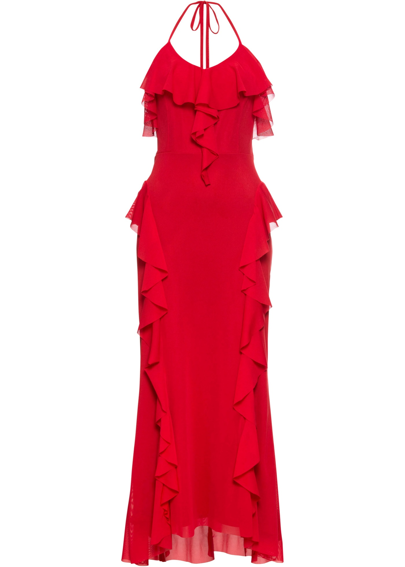 Maxikleid mit Volant ohne Ärmel  in rot für Damen von bonprix