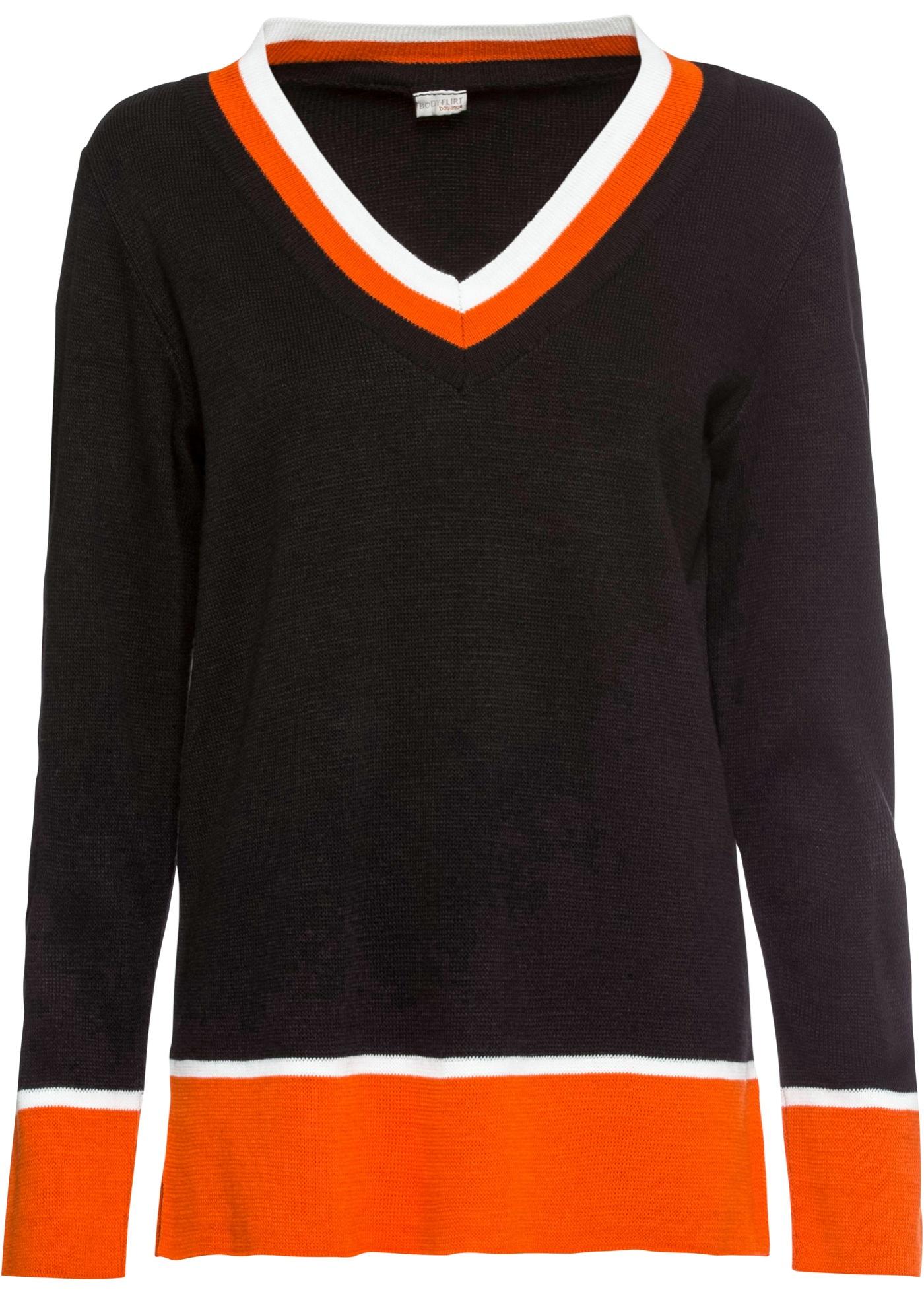 Pullover langarm  in schwarz (V-Ausschnitt) für Damen von bonprix