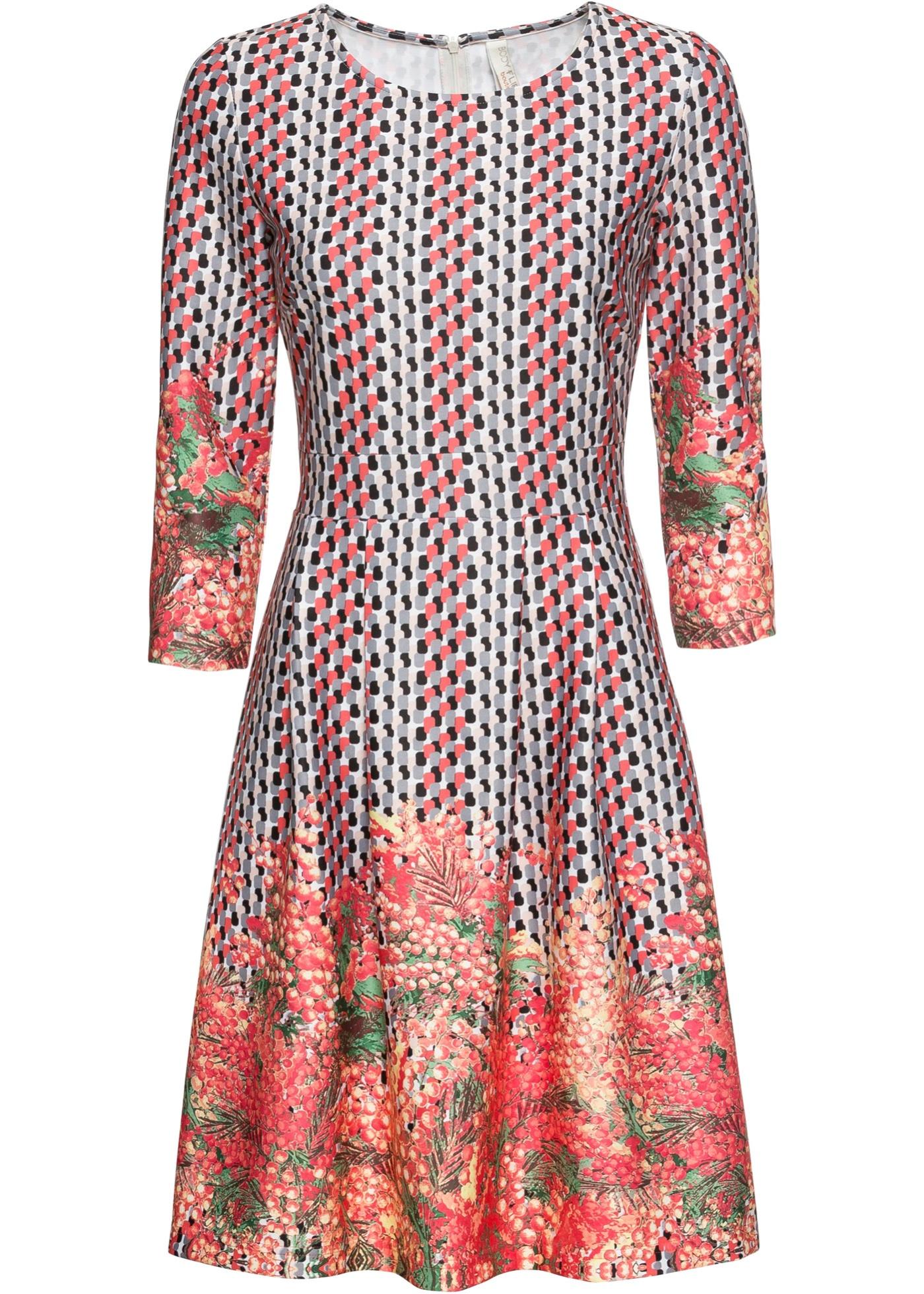 Kleid mit Blumenprint 3/4 Arm  in pink für Damen von bonprix