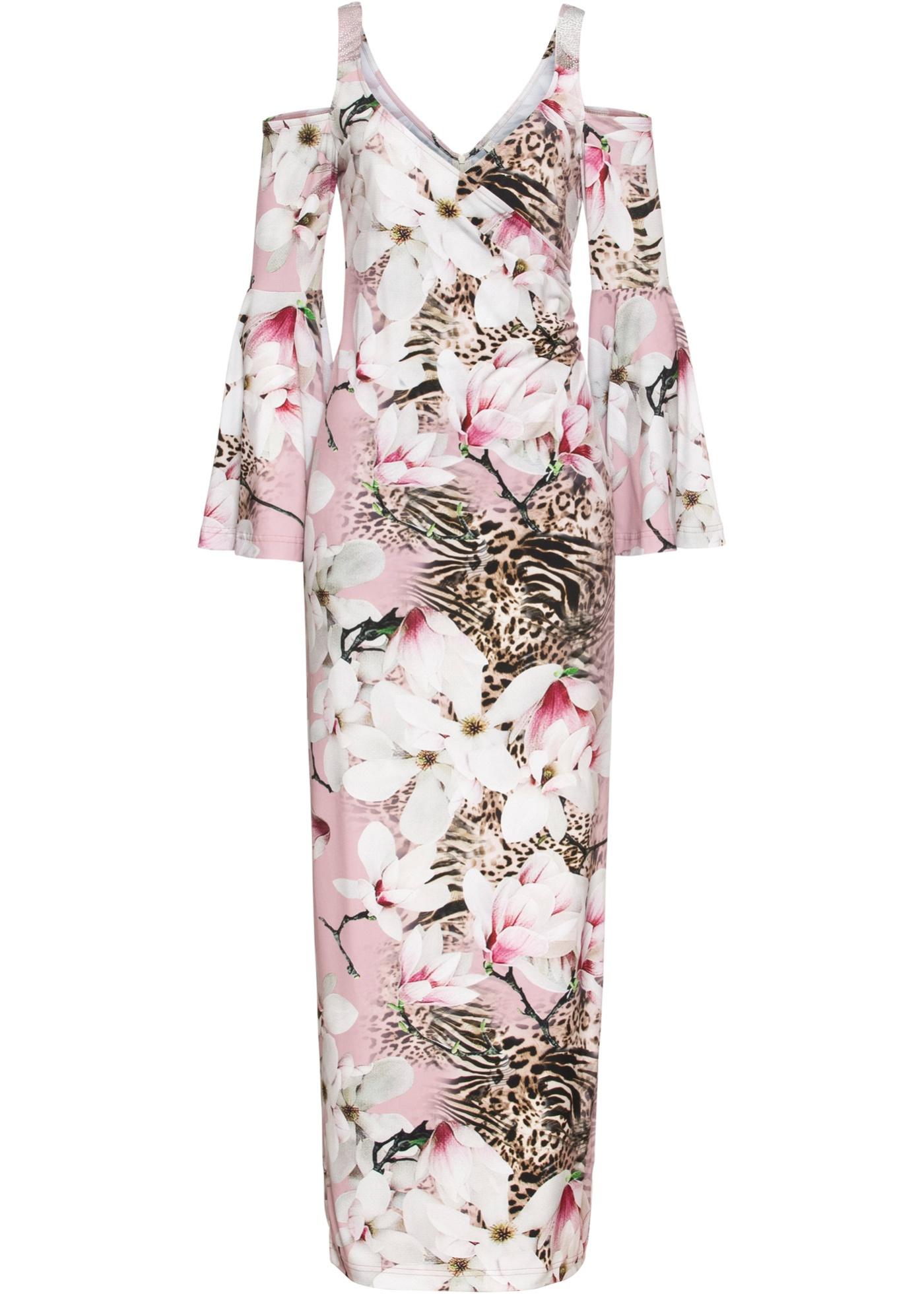 Maxikleid mit floralen animal Print ohne Ärmel  in rosa für Damen von bonprix