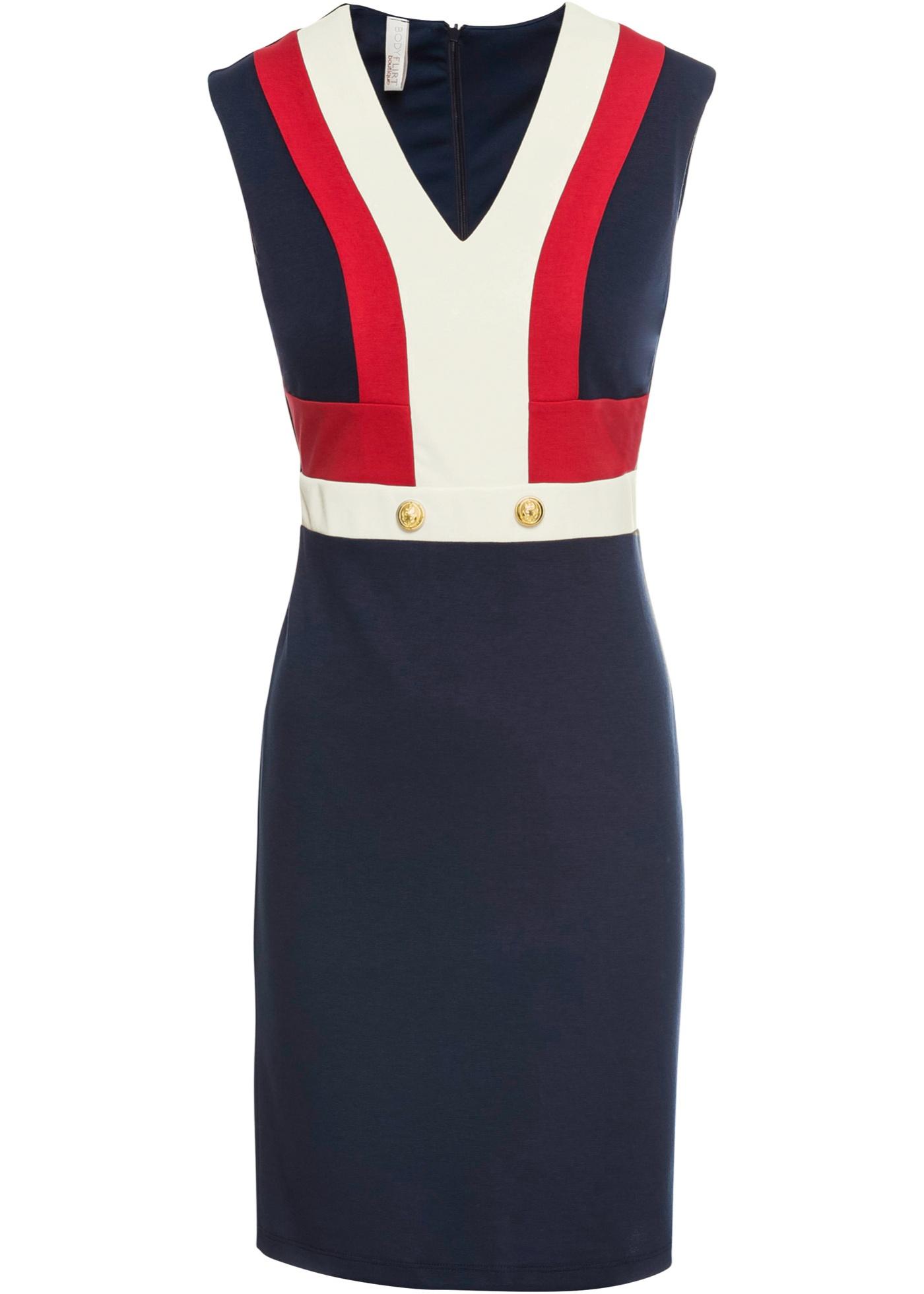 Kleid mit Knöpfen ohne Ärmel  in blau für Damen von bonprix