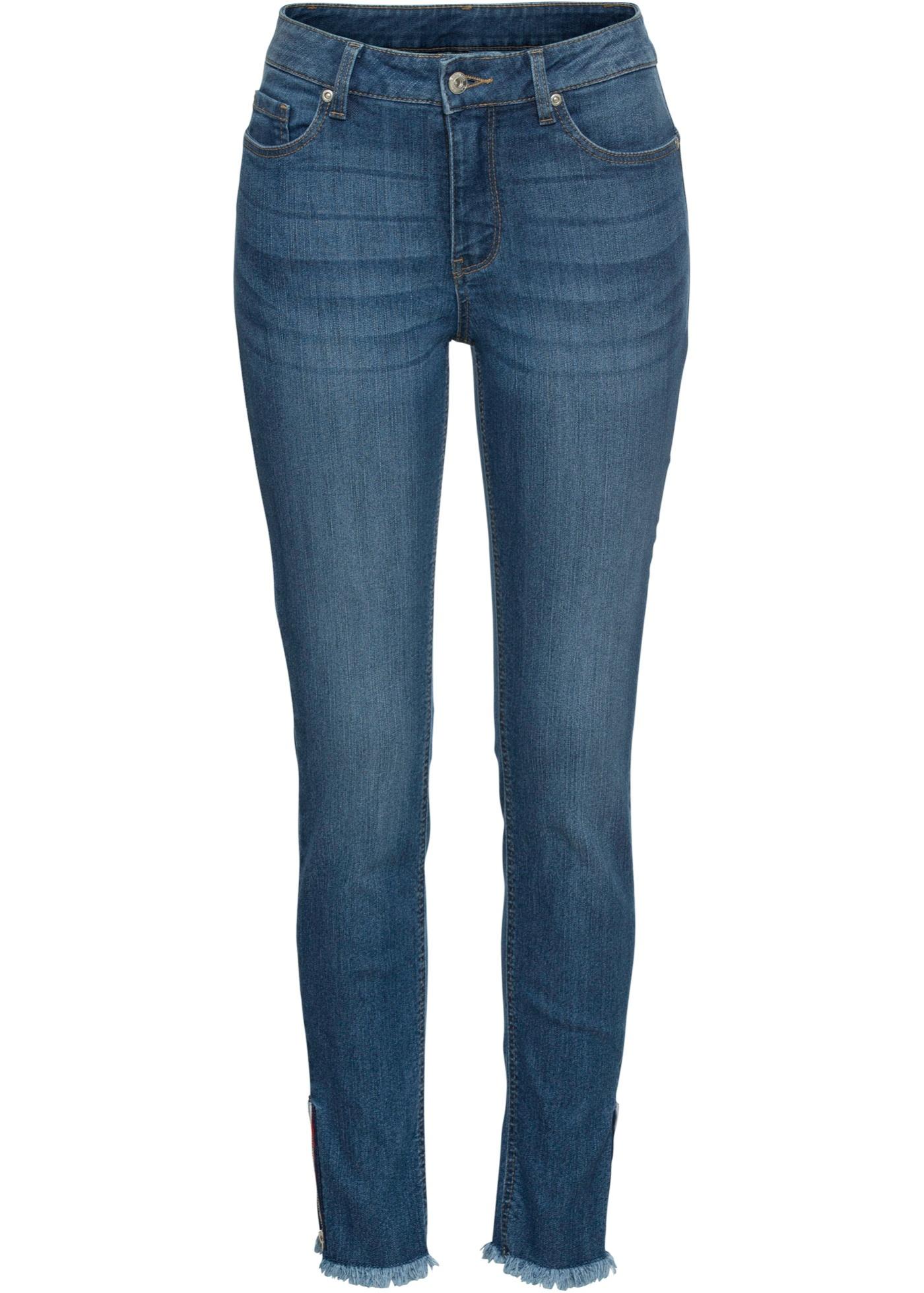 Skinny-Jeans mit Reißverschluss am Saum in blau für Damen von bonprix