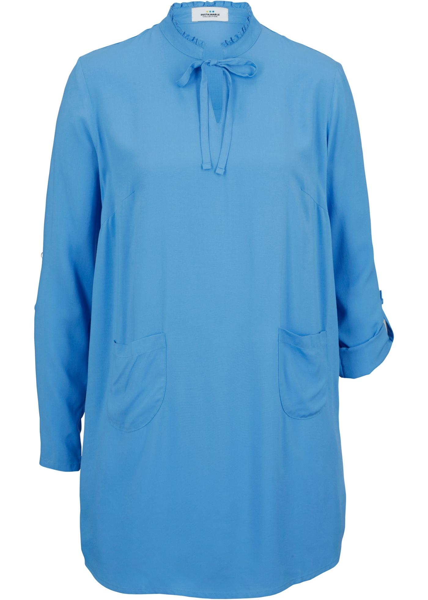 Nachhaltige Bluse  LENZING™ ECOVERO™ langarm  in blau für Damen von bonprix