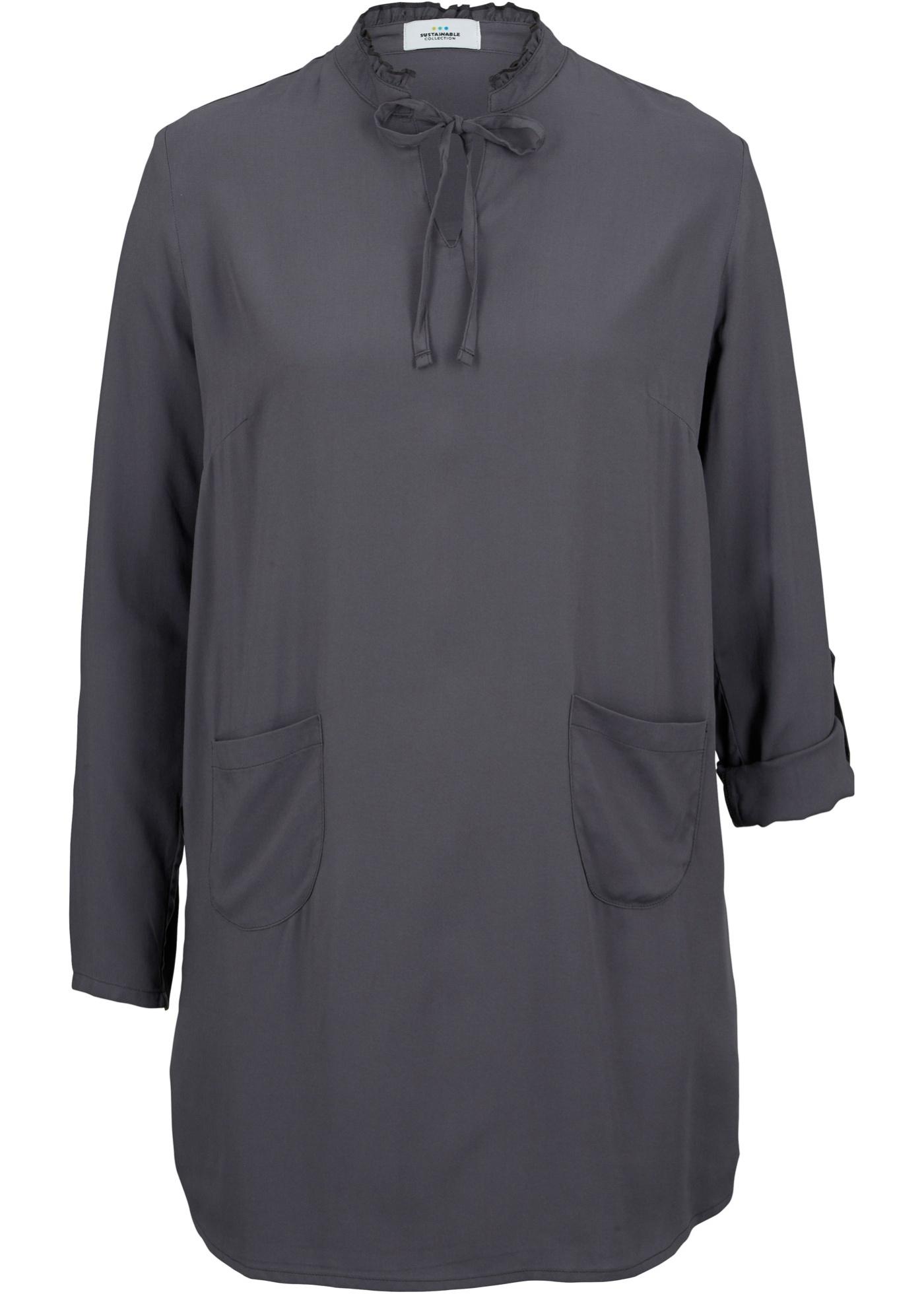 Nachhaltige Bluse  LENZING™ ECOVERO™ langarm  in grau für Damen von bonprix