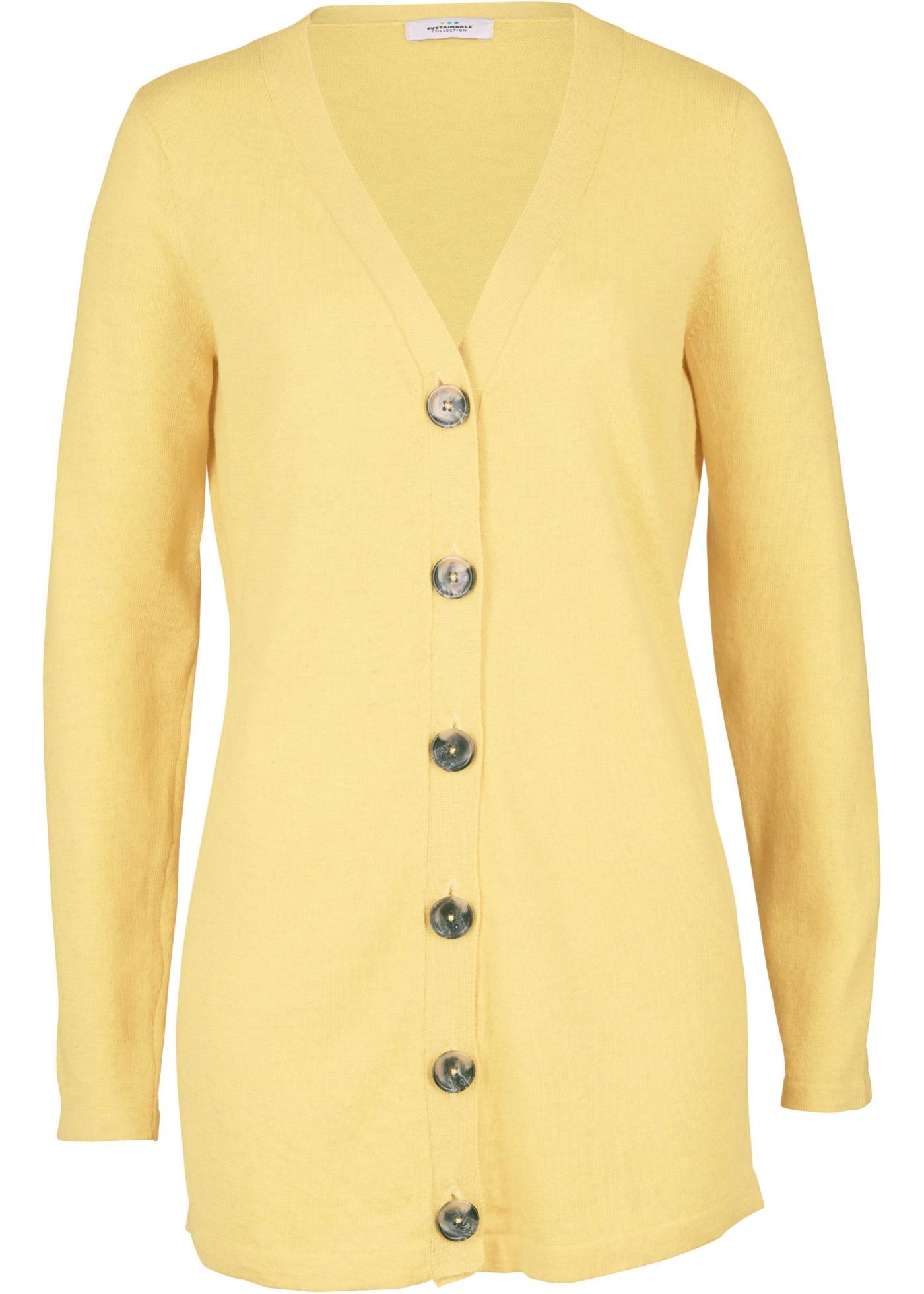 Nachhaltige Strickjacke, Leinen und recyceltem Polyester langarm  in gelb für Damen von bonprix