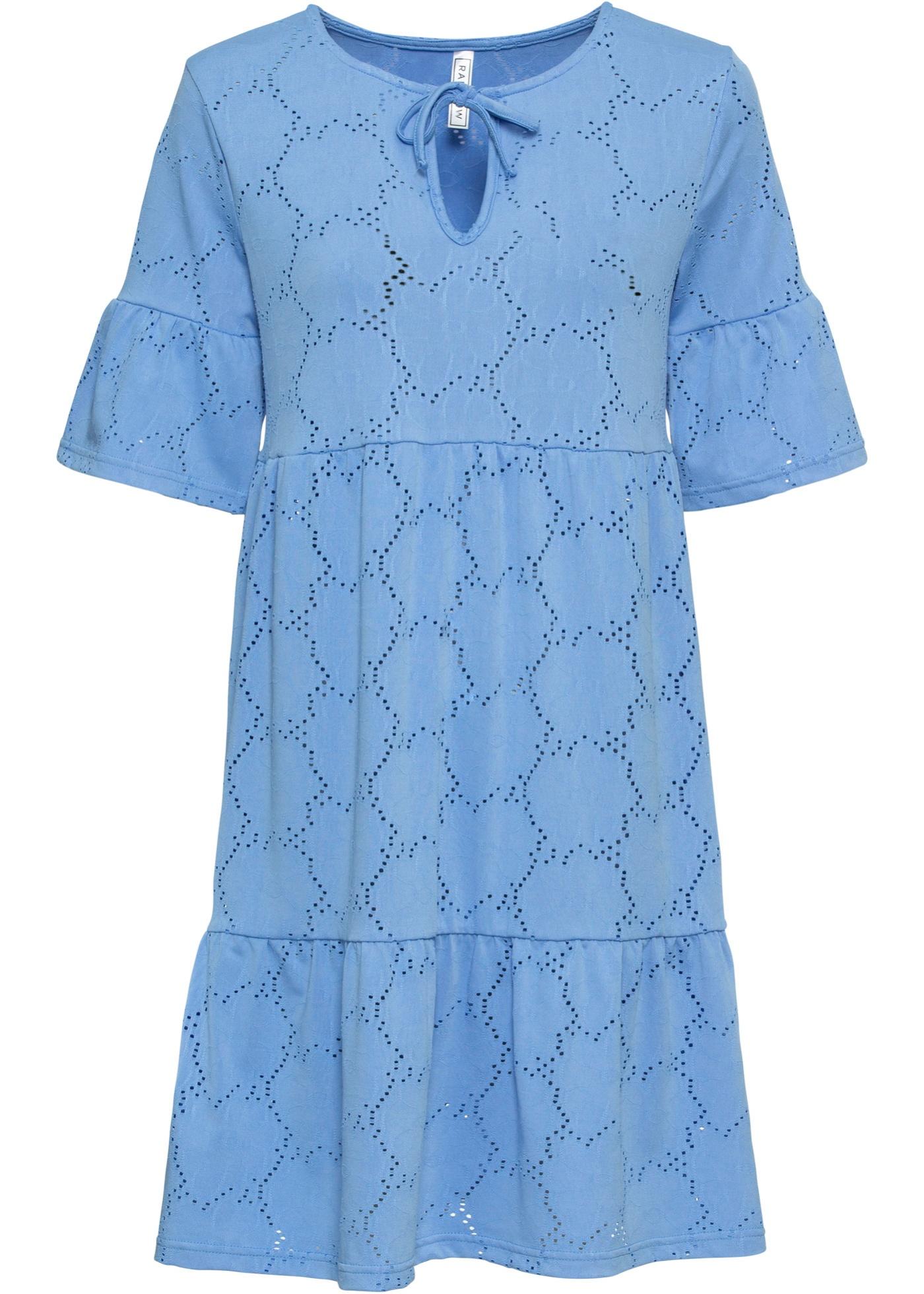 Shirtkleid mit Volant kurzer Arm  in blau für Damen von bonprix