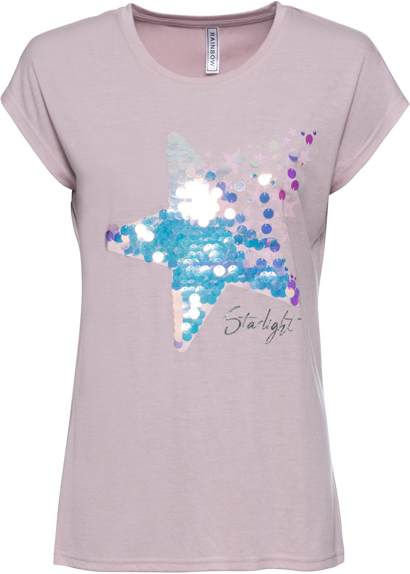 T-Shirt mit Pailetten Flügelärmel  in lila für Damen von bonprix