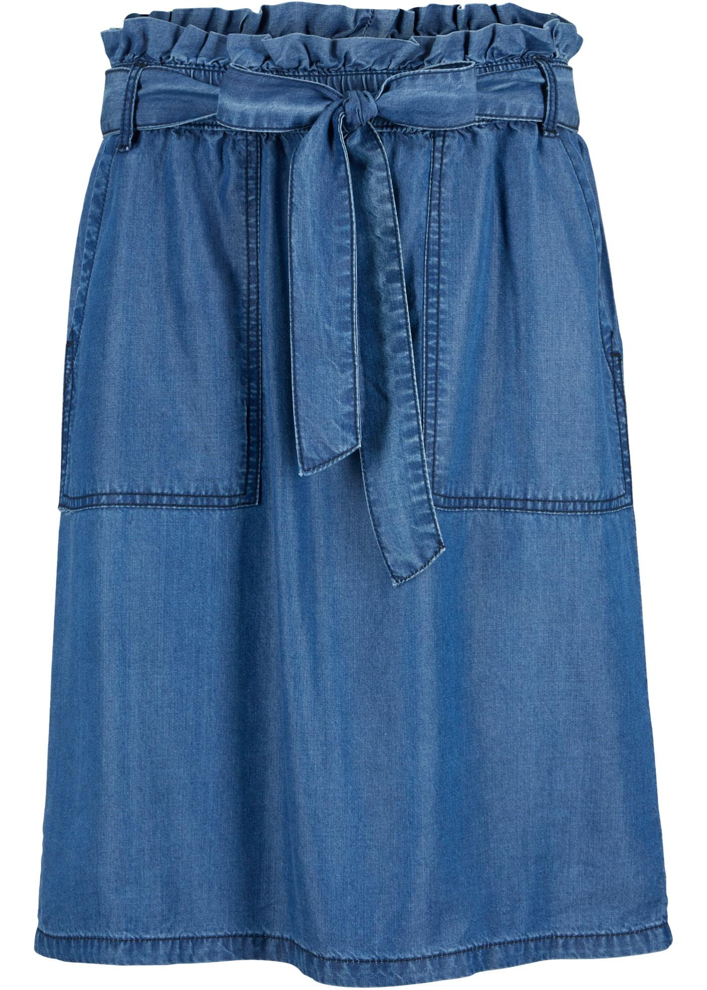 Nachhaltiger Paperbag- Rock,  Lyocell TENCEL™ in blau für Damen von bonprix