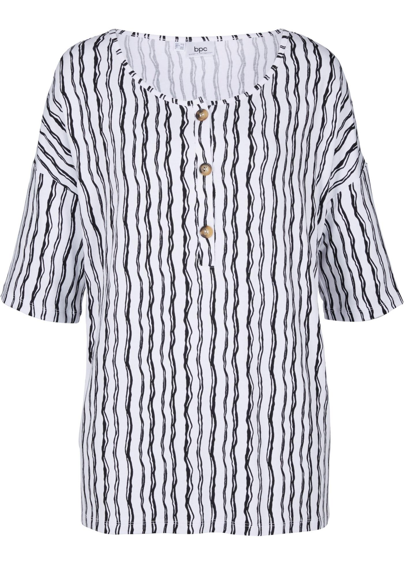 Shirtbluse mit Knöpfen, kurzarm in schwarz für Damen von bonprix