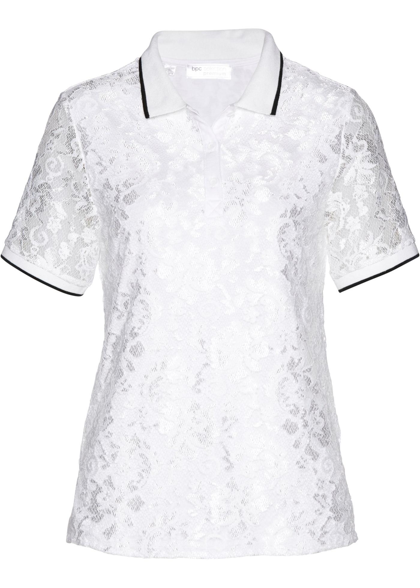 Poloshirt aus Spitze halber Arm  in weiß für Damen von bonprix