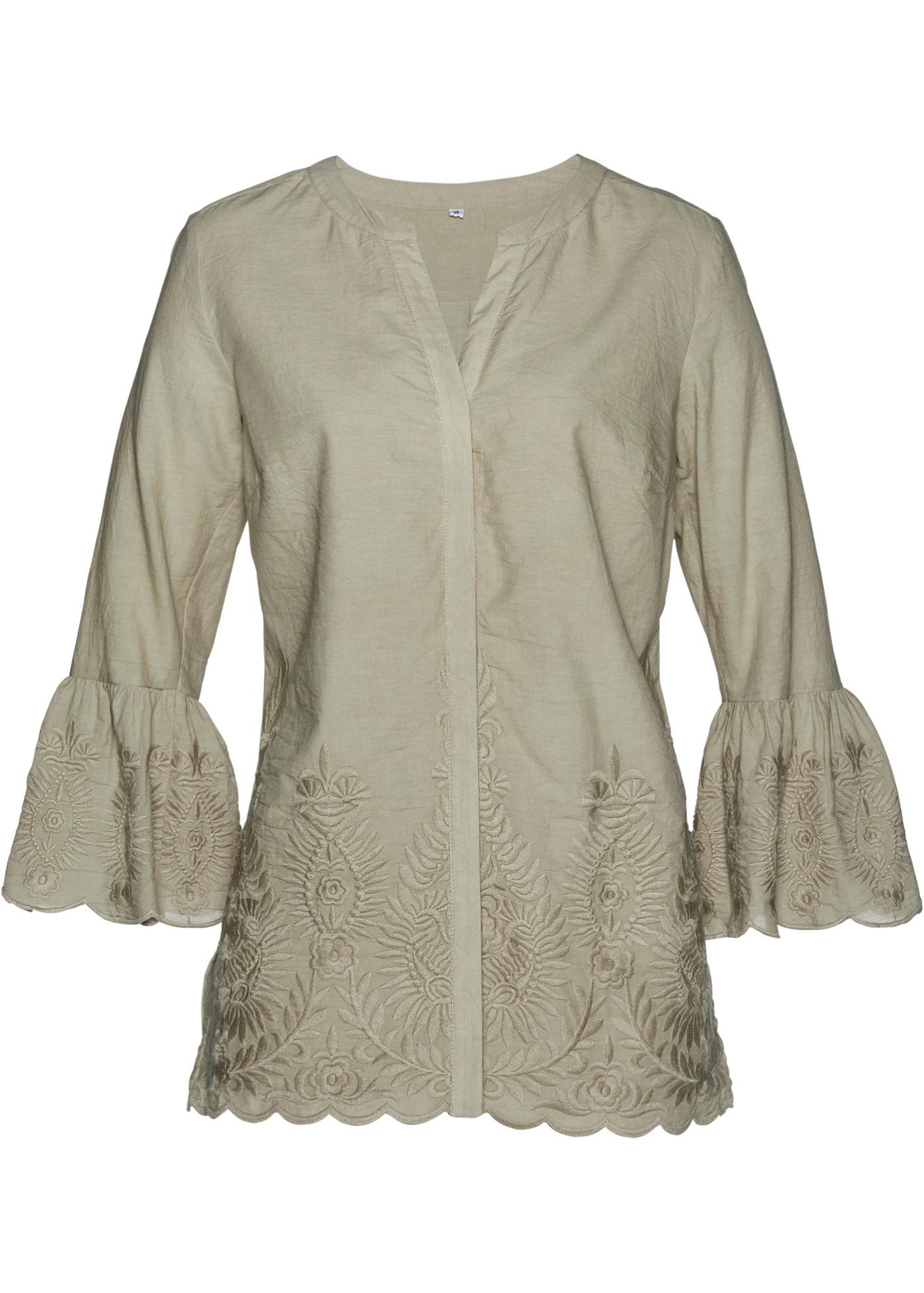 Bluse mit Stickerei 7/8 Arm  in grau für Damen von bonprix