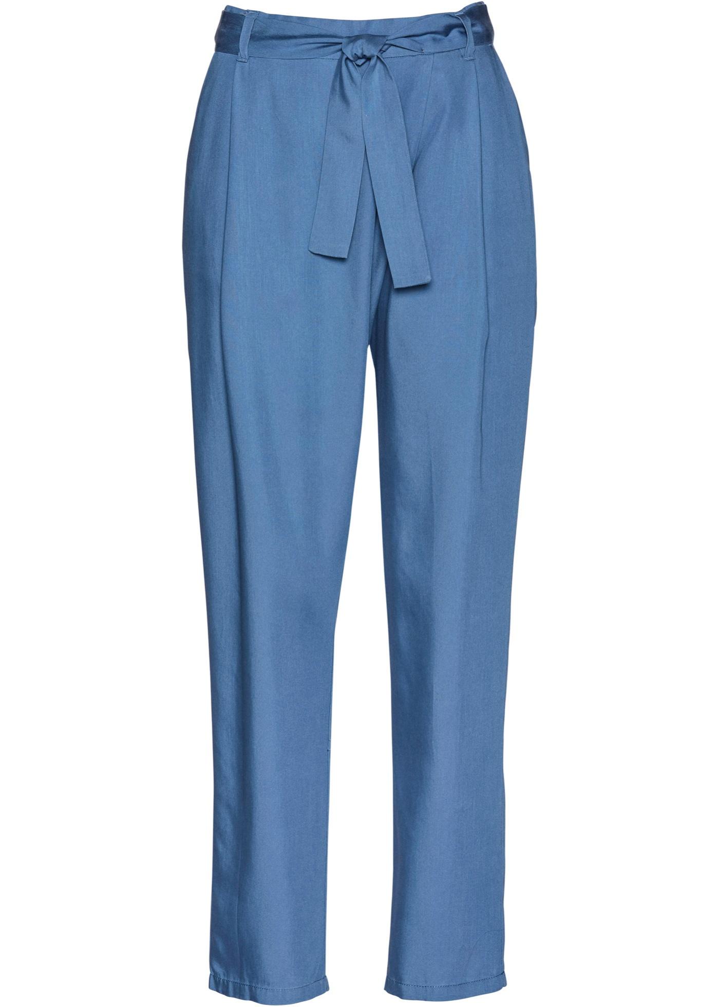Bundfaltenhose aus TENCEL™ Lyocelll in blau für Damen von bonprix