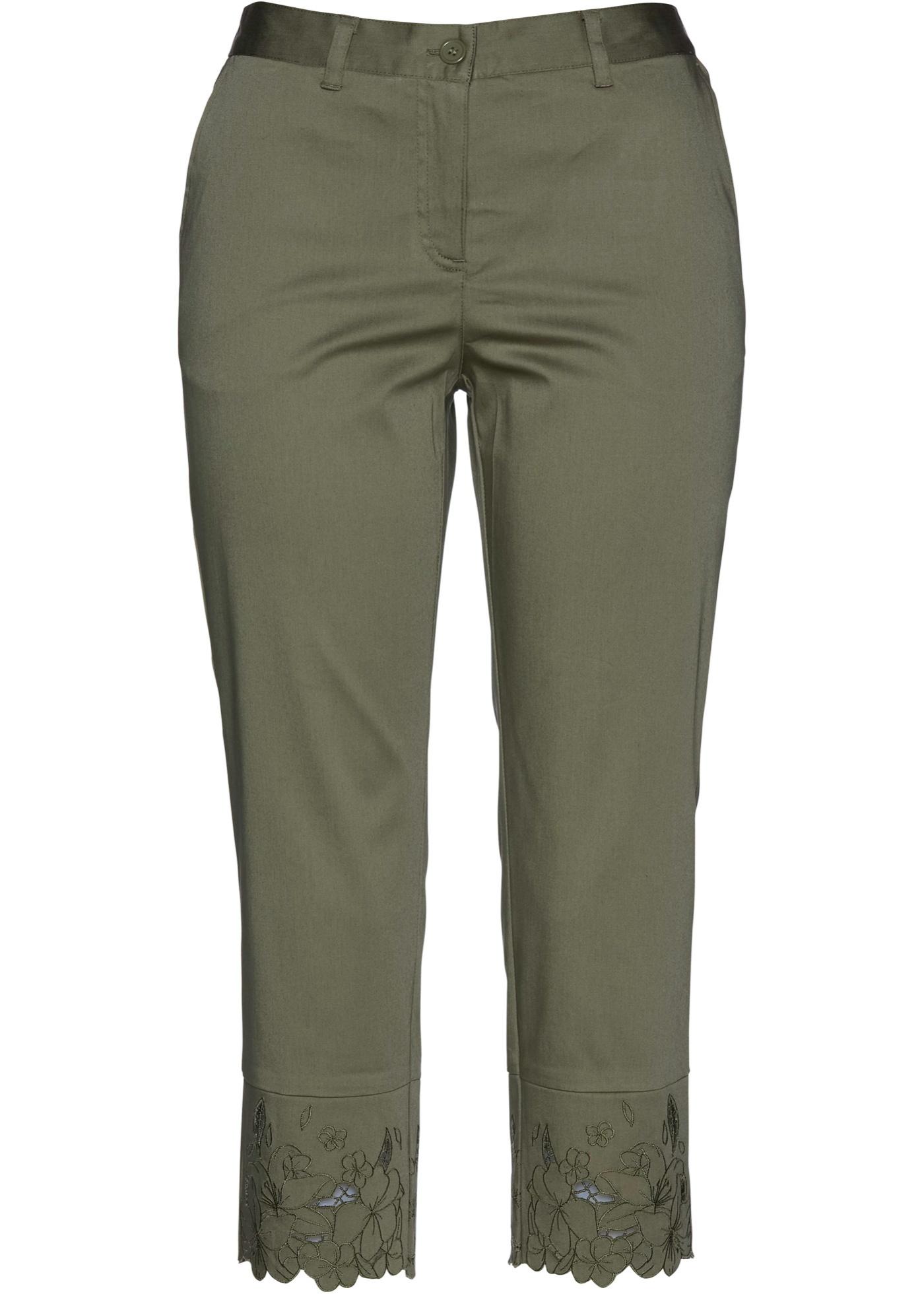 Premium 3/4-Hose mit Spitze in grün für Damen von bonprix